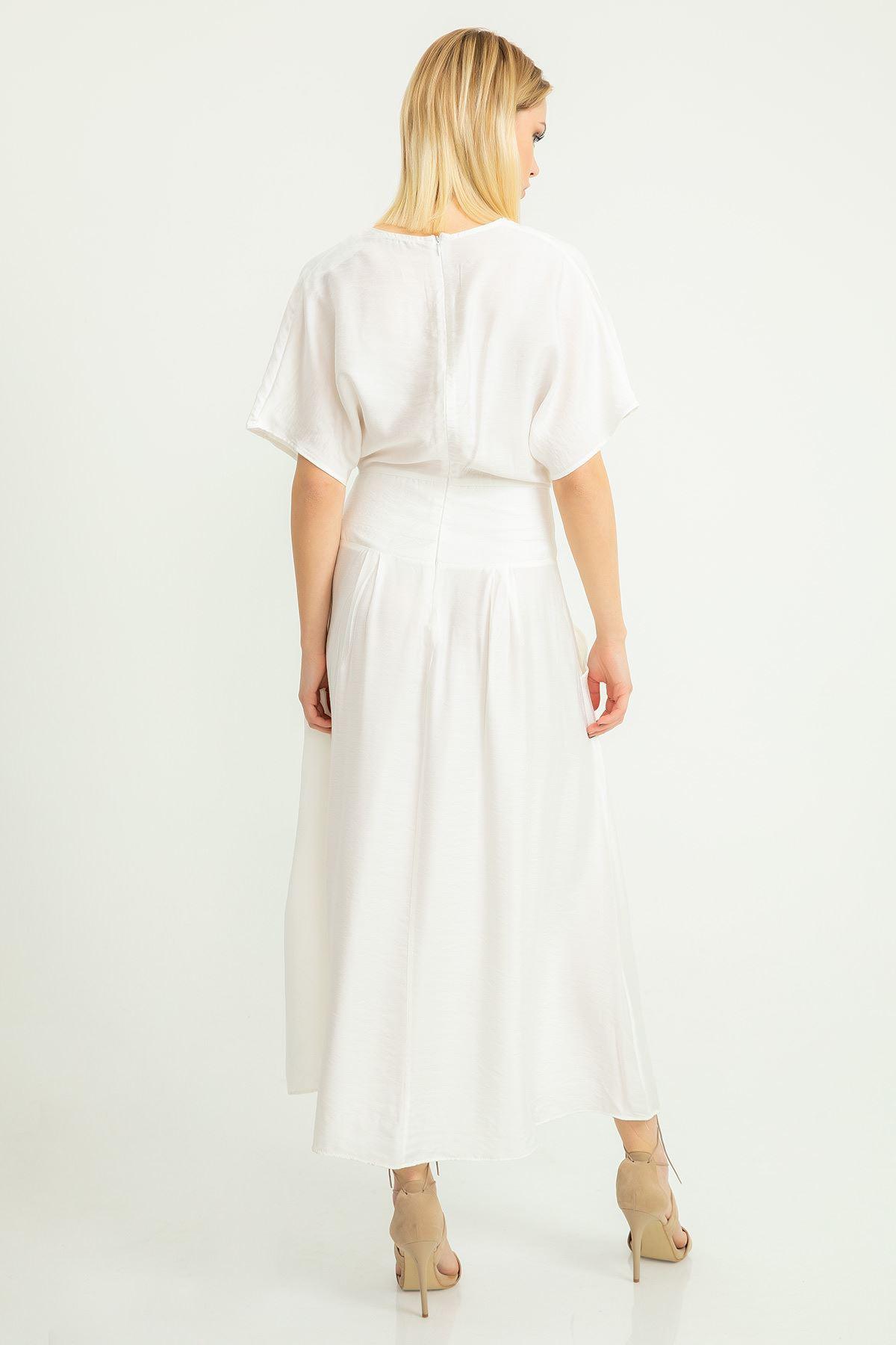 Cep Detay Aerobin Elbise-Ekru