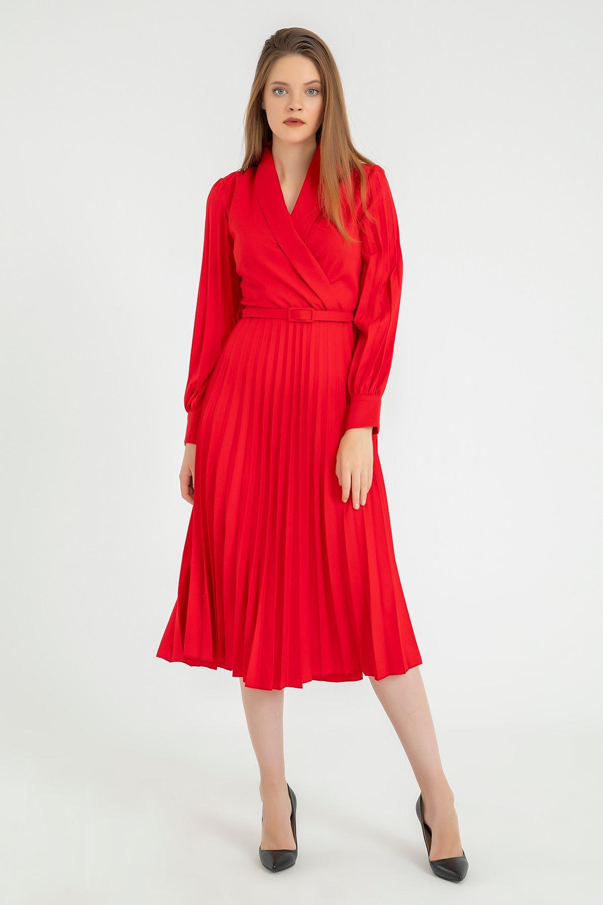 Piliseli Kemerli Elbise-Kırmızı