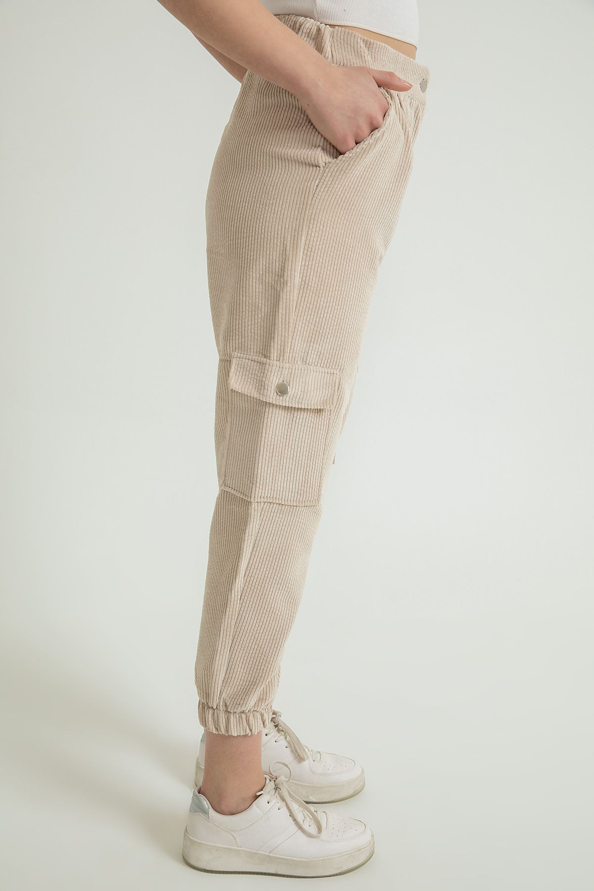 Kadife Kargo Pantolon-Taş