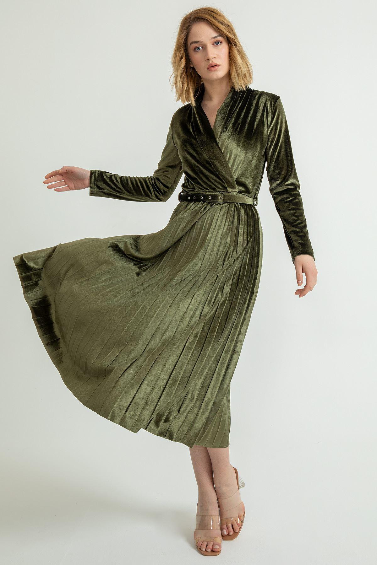 Piliseli Ceket Yaka Kadife Elbise-Haki
