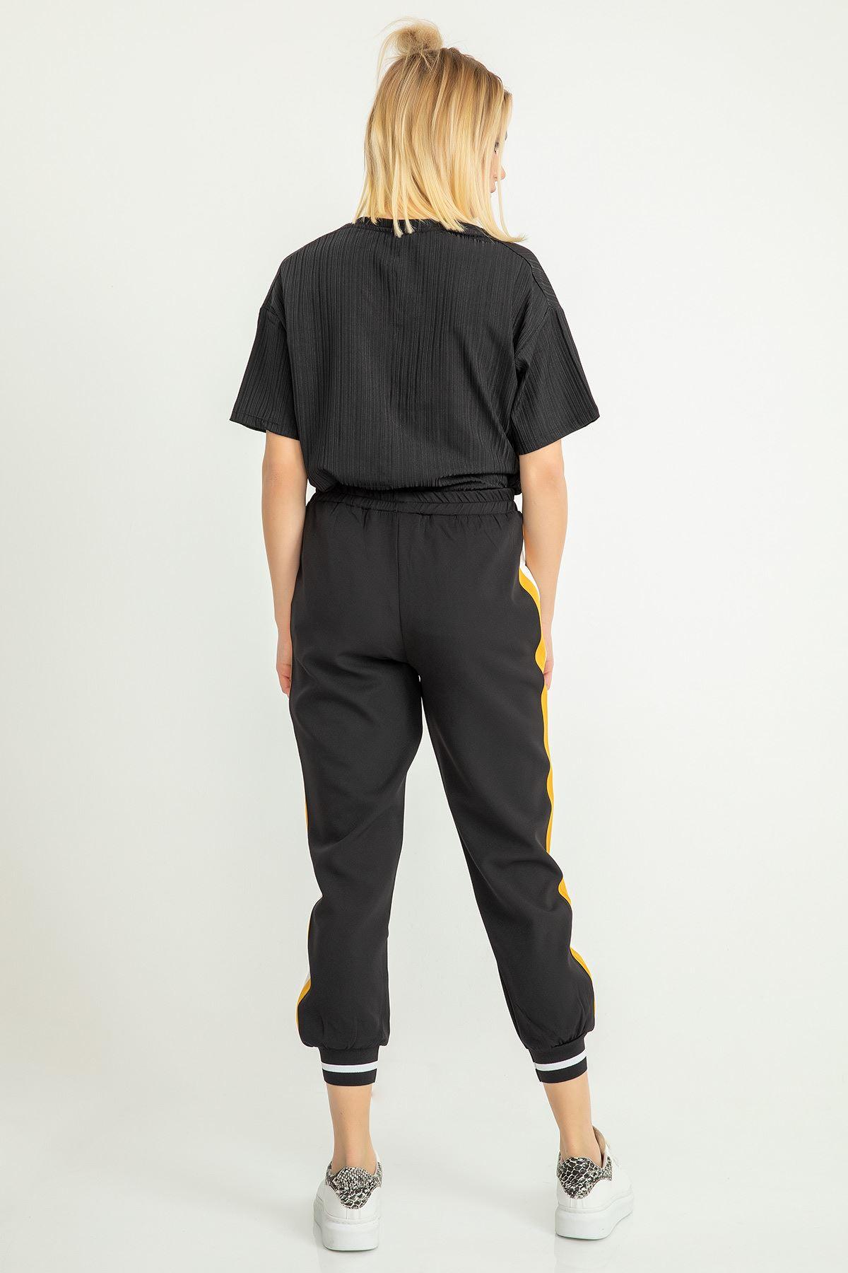 Şeritli Atlas Pantolon-Hardal