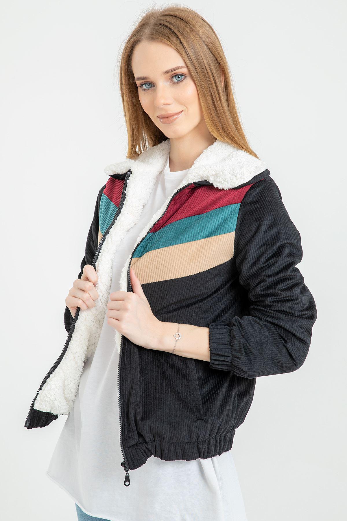Garni Detay Kadife Ceket-Siyah