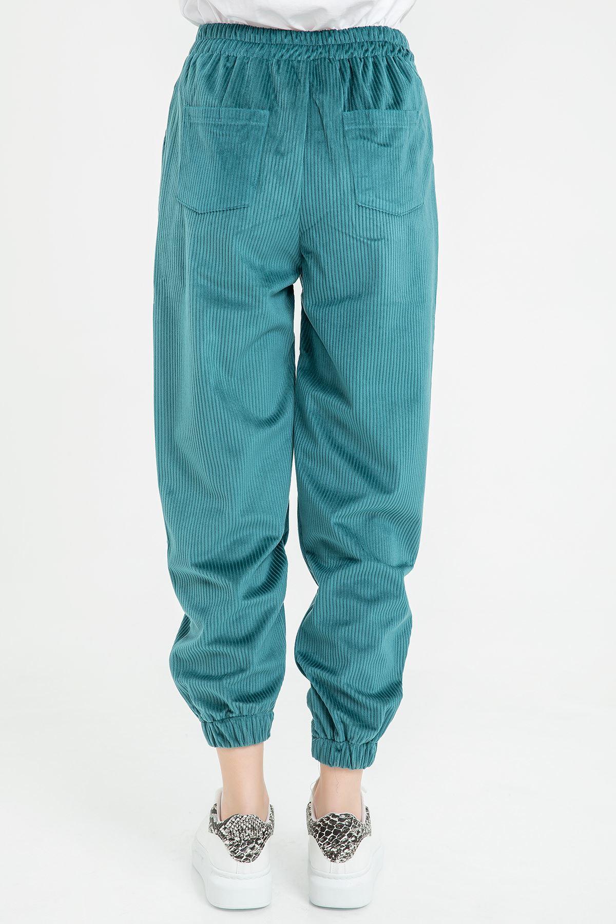 Örme Kadife Pantolon-Petrol