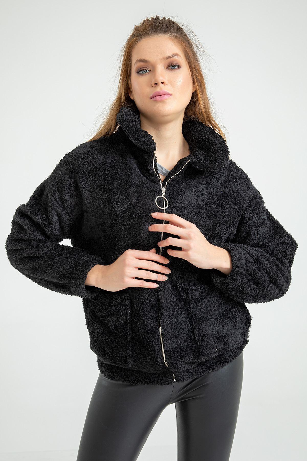Velsoft Salaş Fermuarlı Ceket-Siyah