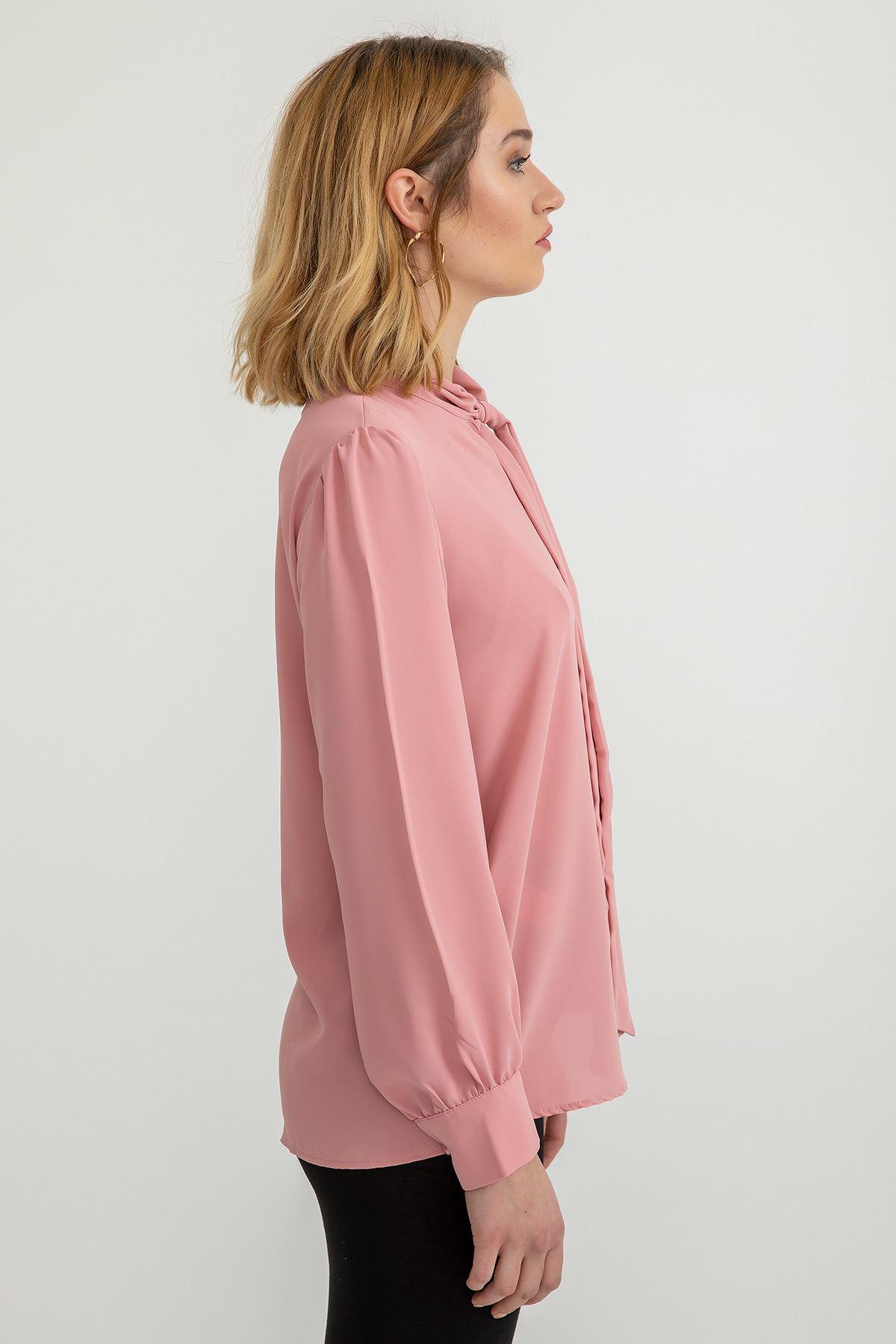 Yakası Bağlama Detay Büzgülü Kol Gömlek-Gül Kurusu