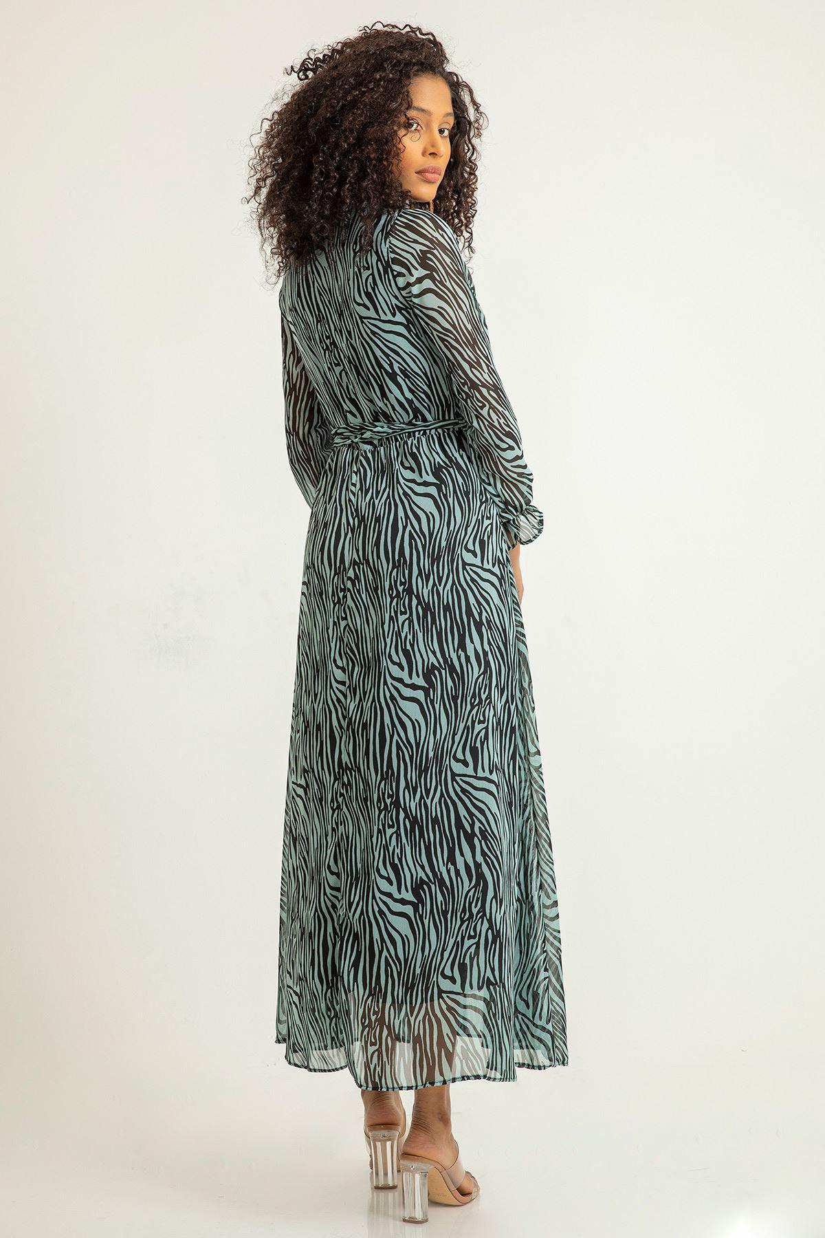 Zebra Desen Anvelop Şifon Elbise-Mint