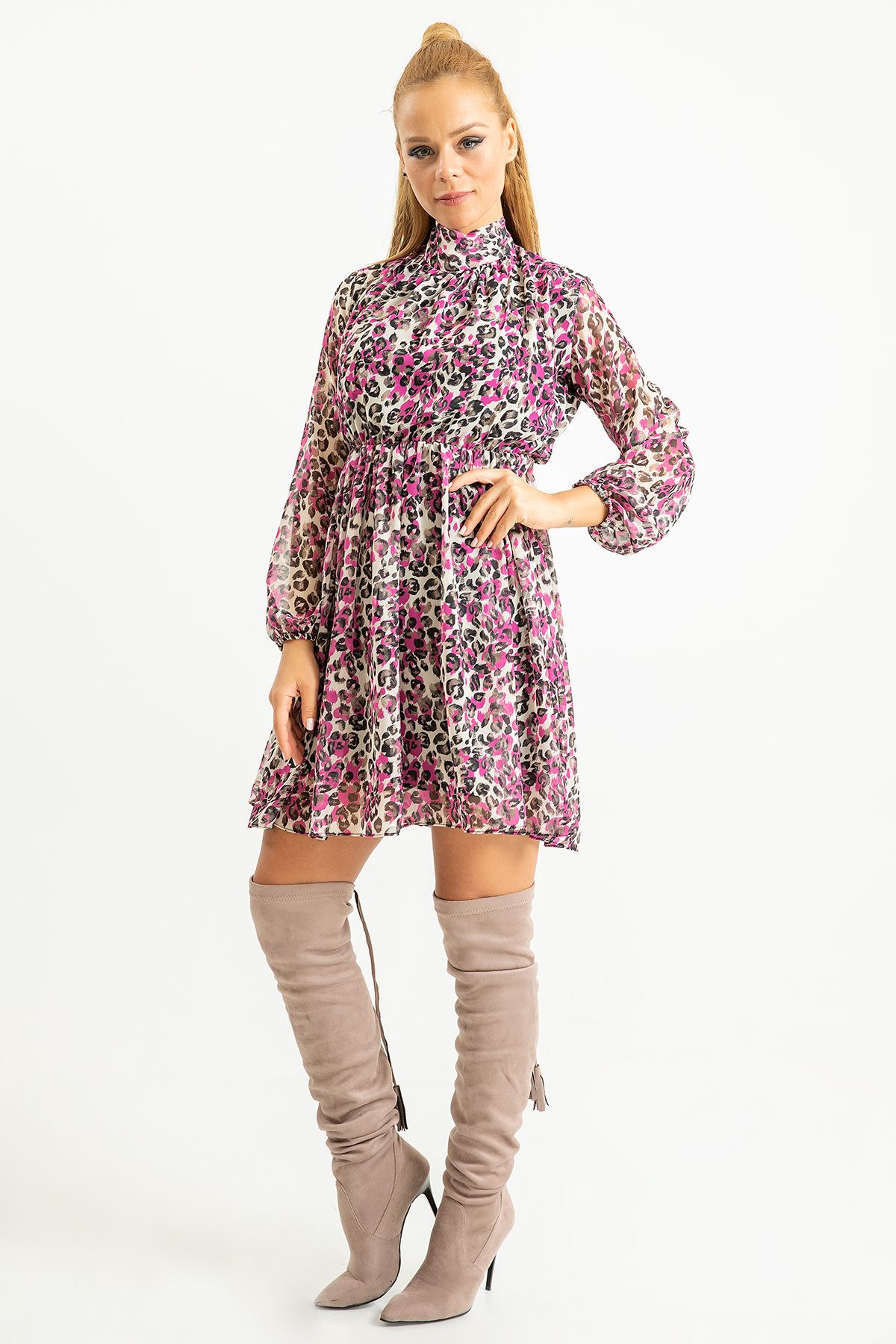 Renkli Leopar Şal Yaka Elbise-Fuşya