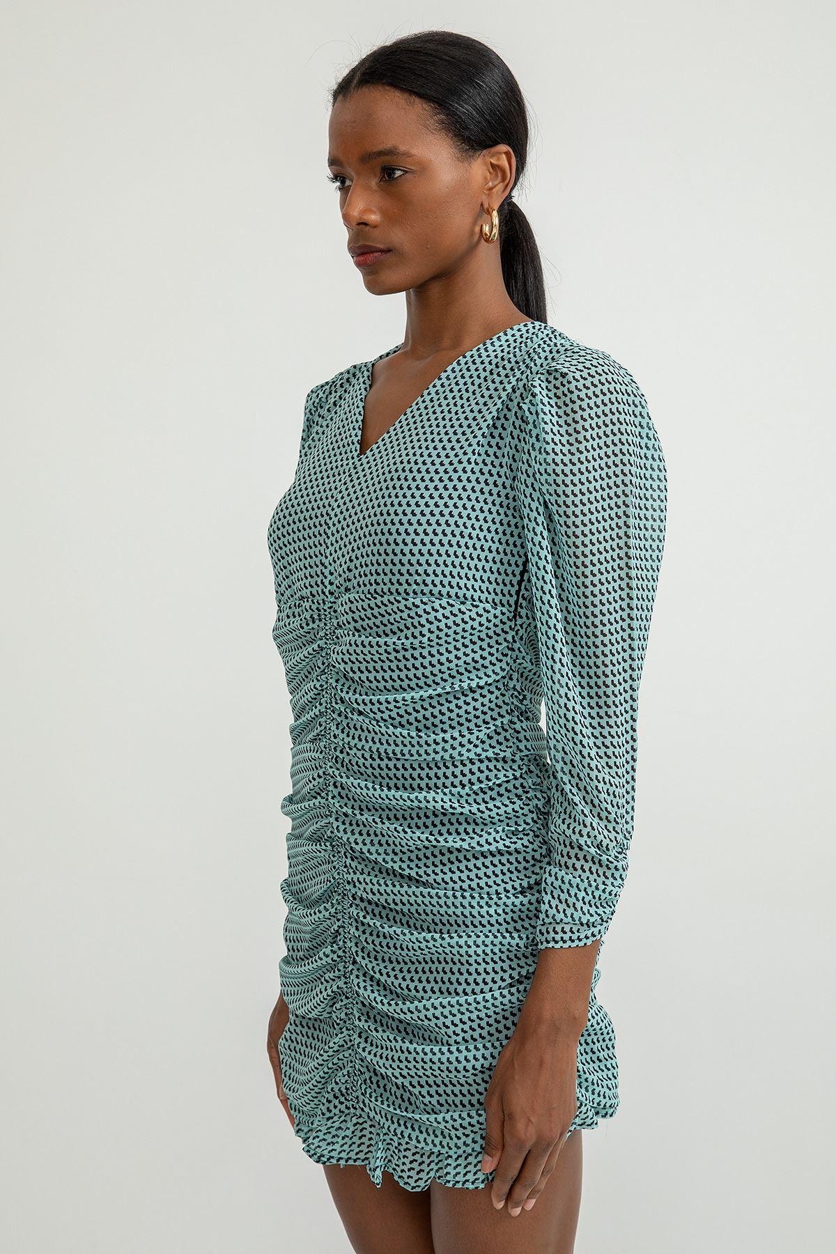 Çıtır Desen Büzgülü Kısa Elbise-Mint
