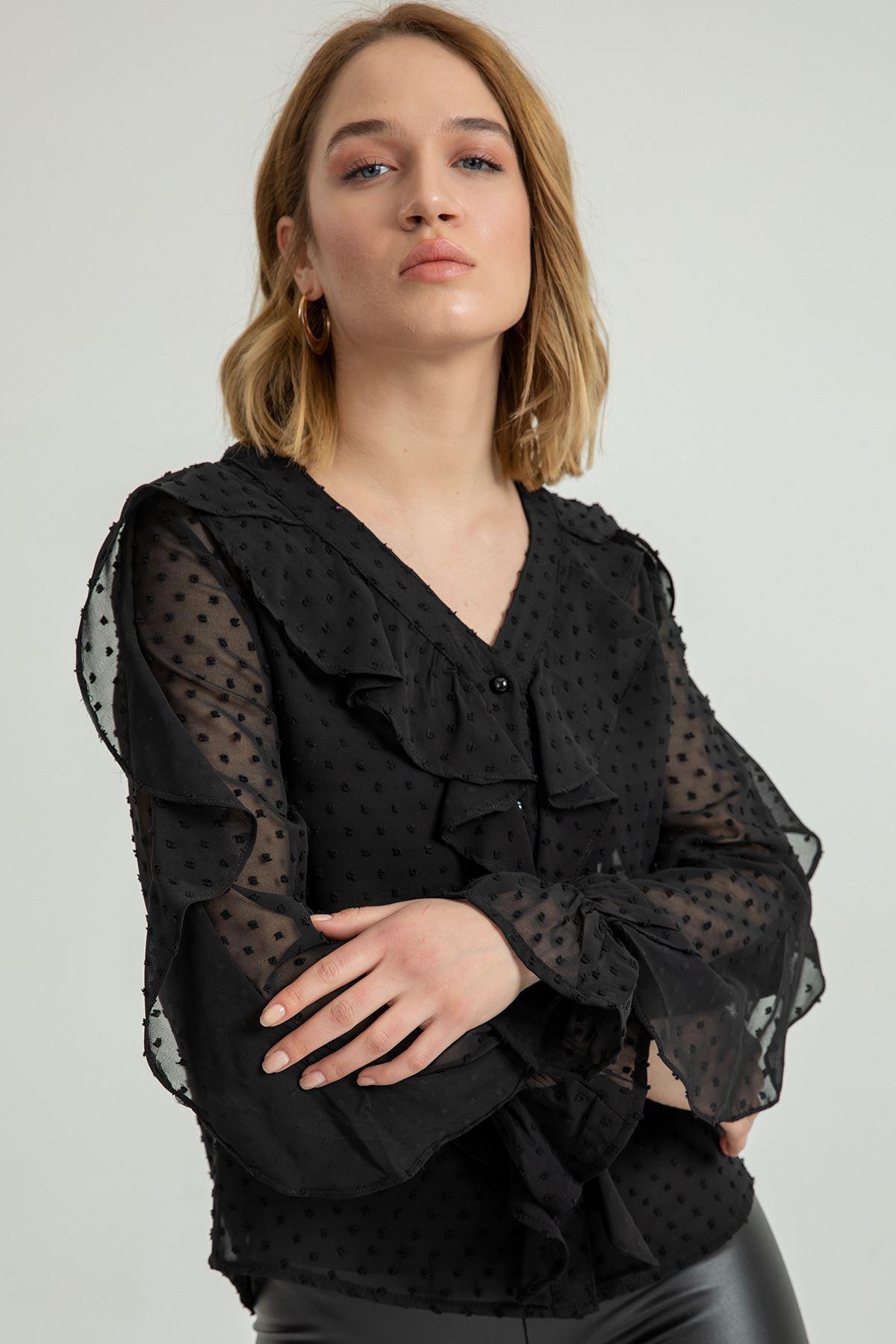 Volanlı Kesme Şifon Gömlek-Siyah