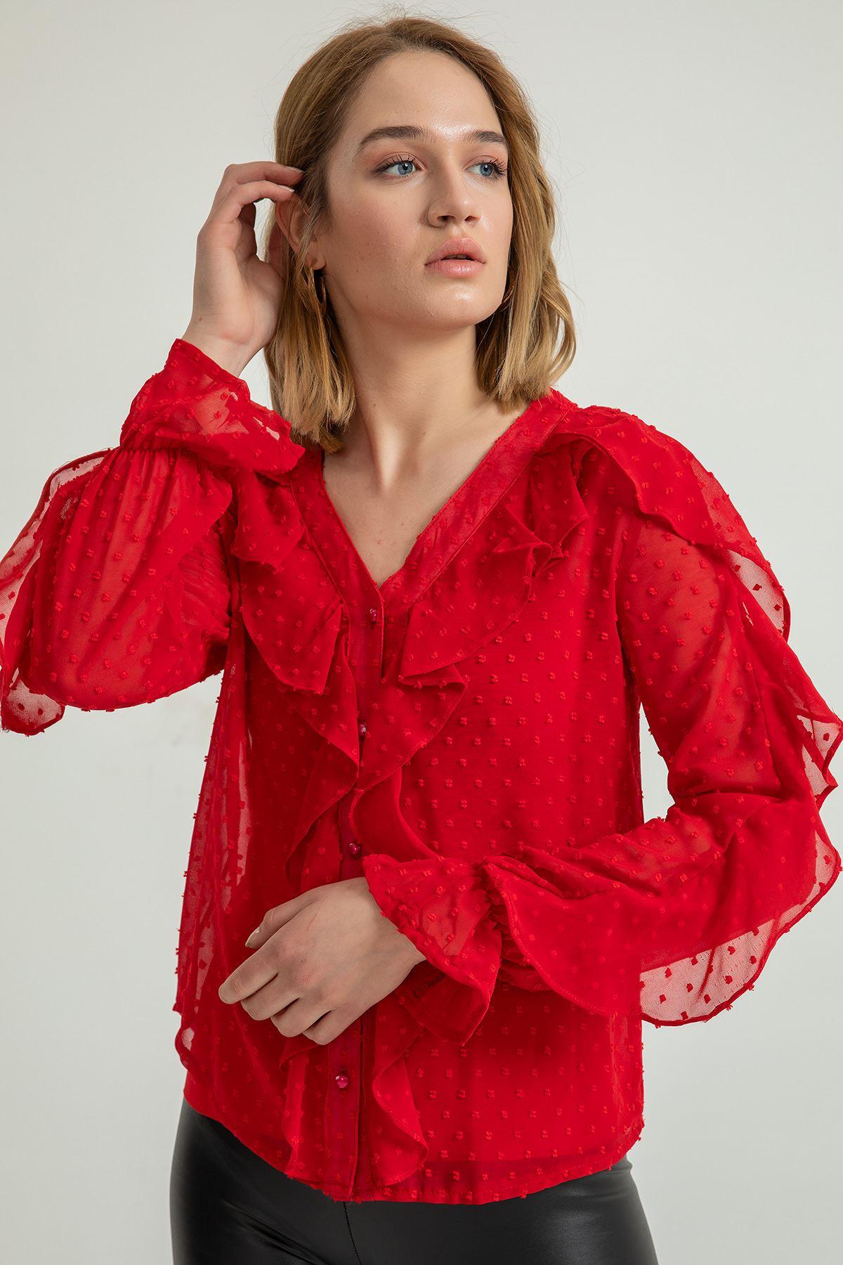 Volanlı Kesme Şifon Gömlek-Kırmızı