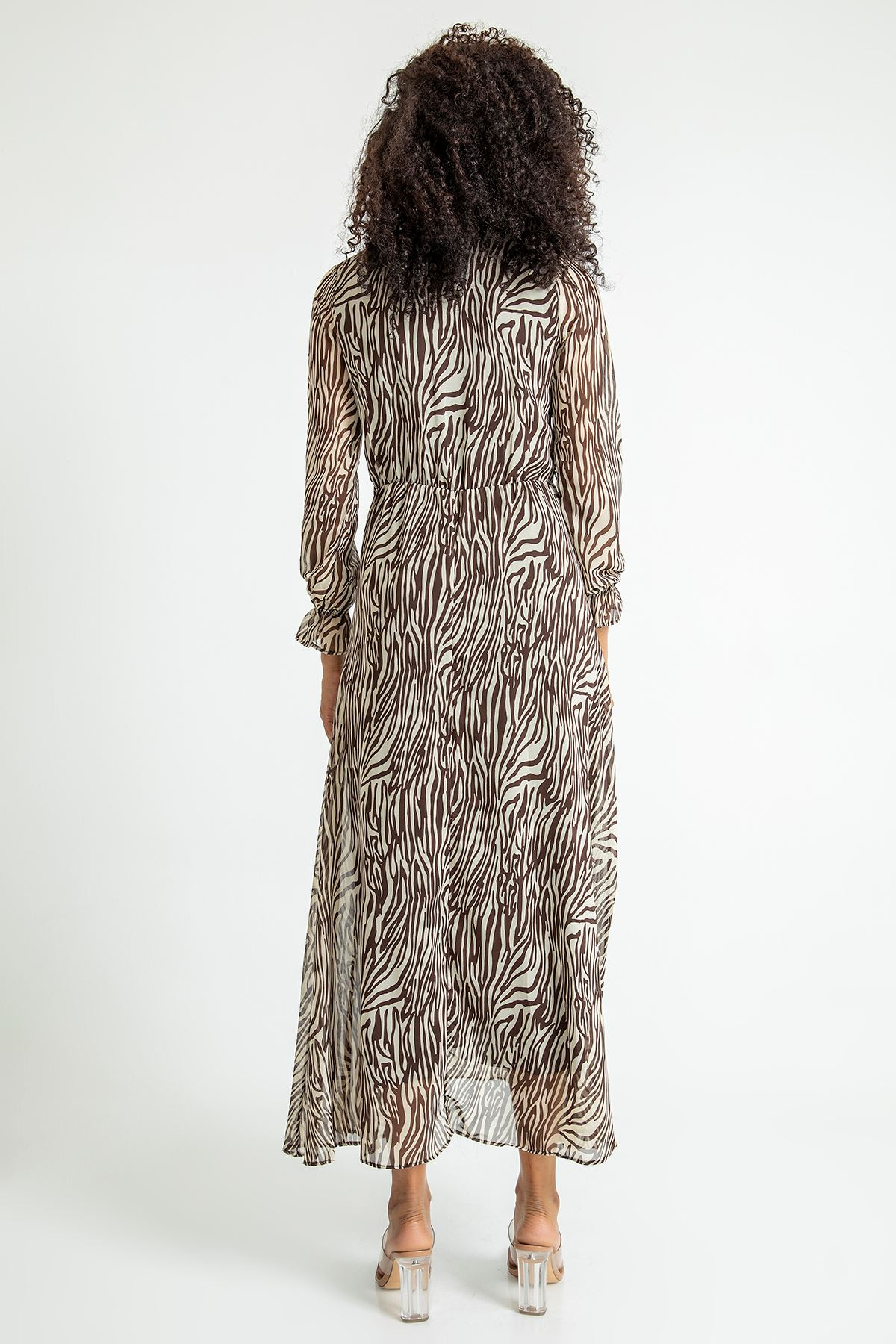 Zebra Desen Anvelop Şifon Elbise-Kahve