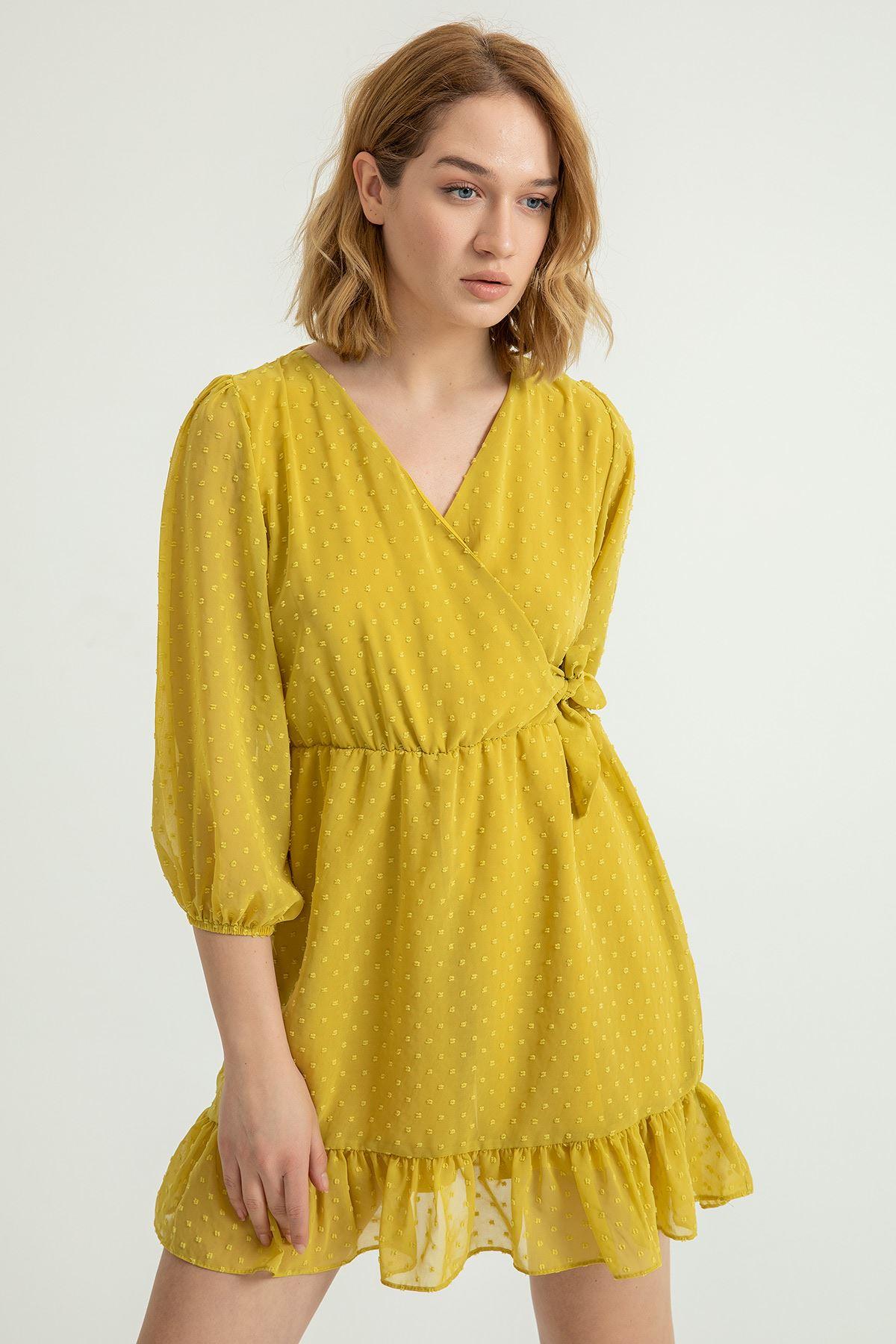 Anvelop Yandan Bağlamalı Kesme Şifon Elbise-Sarı