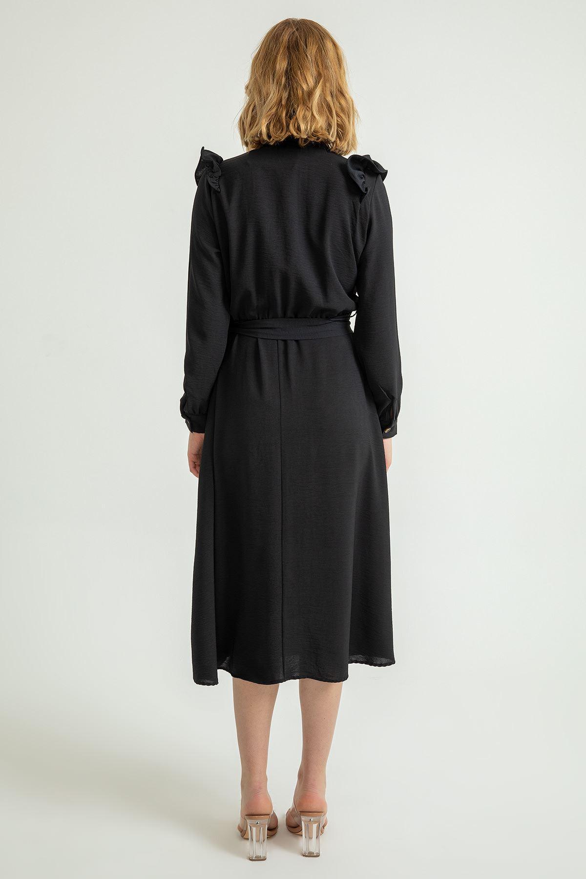 Hakim Yaka Volanlı Midi Elbise-Siyah