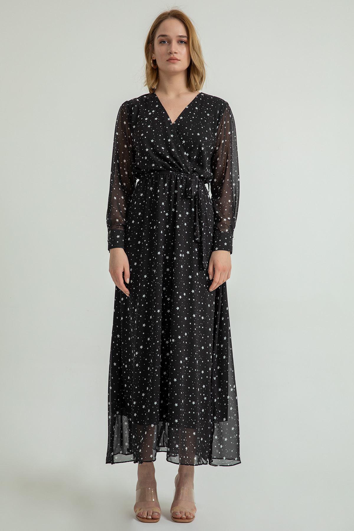 Yıldız Desen Anvelop Elbise-Siyah