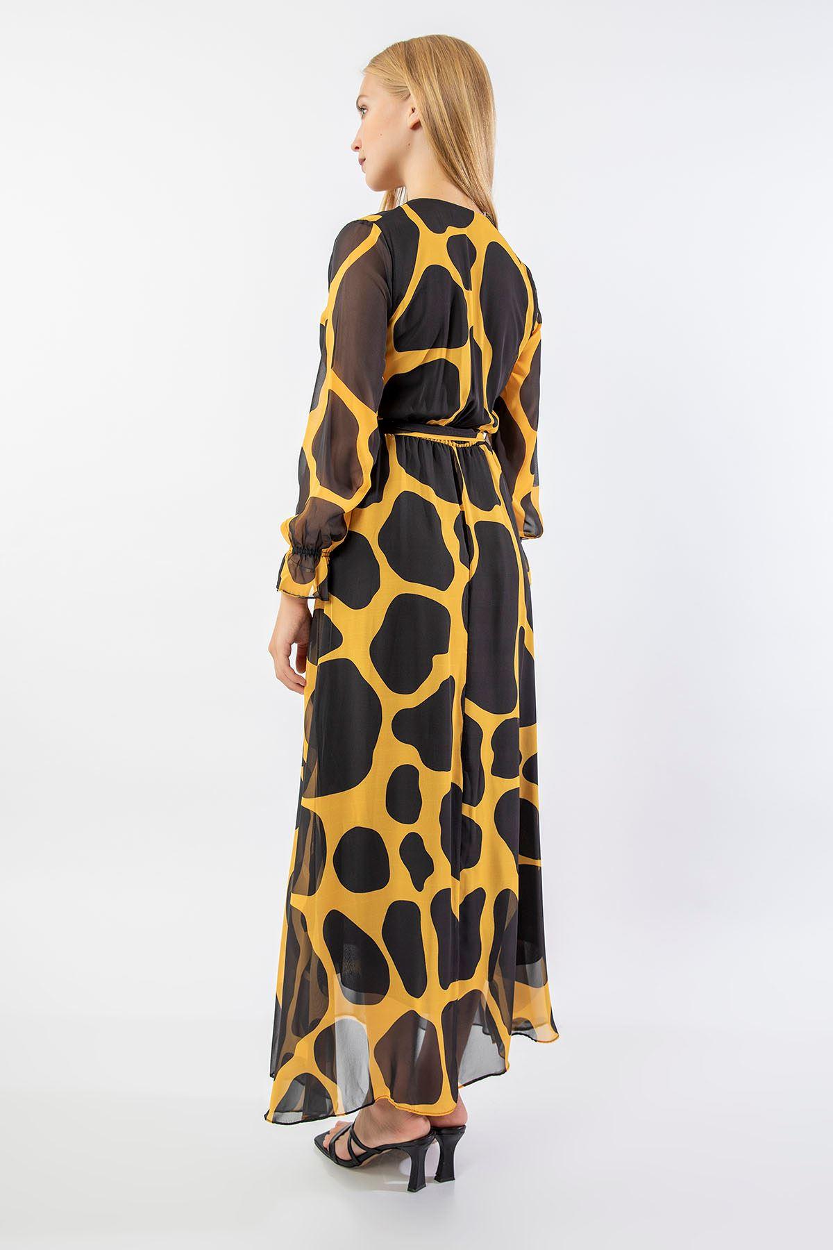 Taş Desen Uzun Şifon Elbise-Sarı