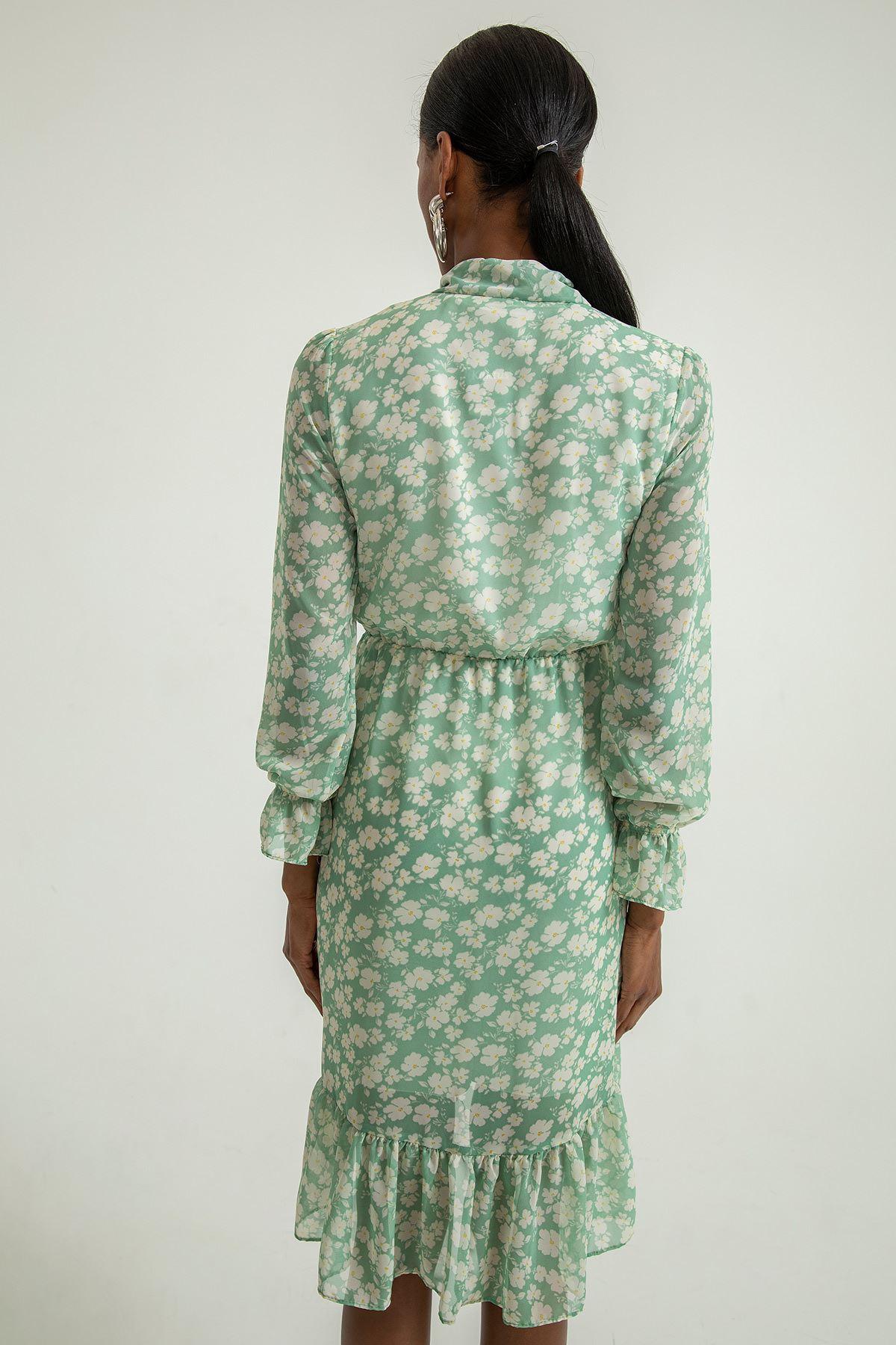Çiçek Desen Şal Yaka Elbise-Mint
