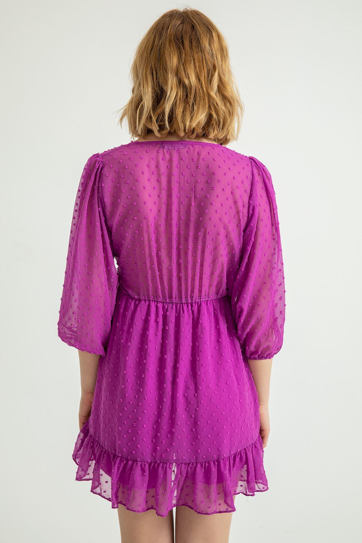 Anvelop Yandan Bağlamalı Kesme Şifon Elbise-Mor