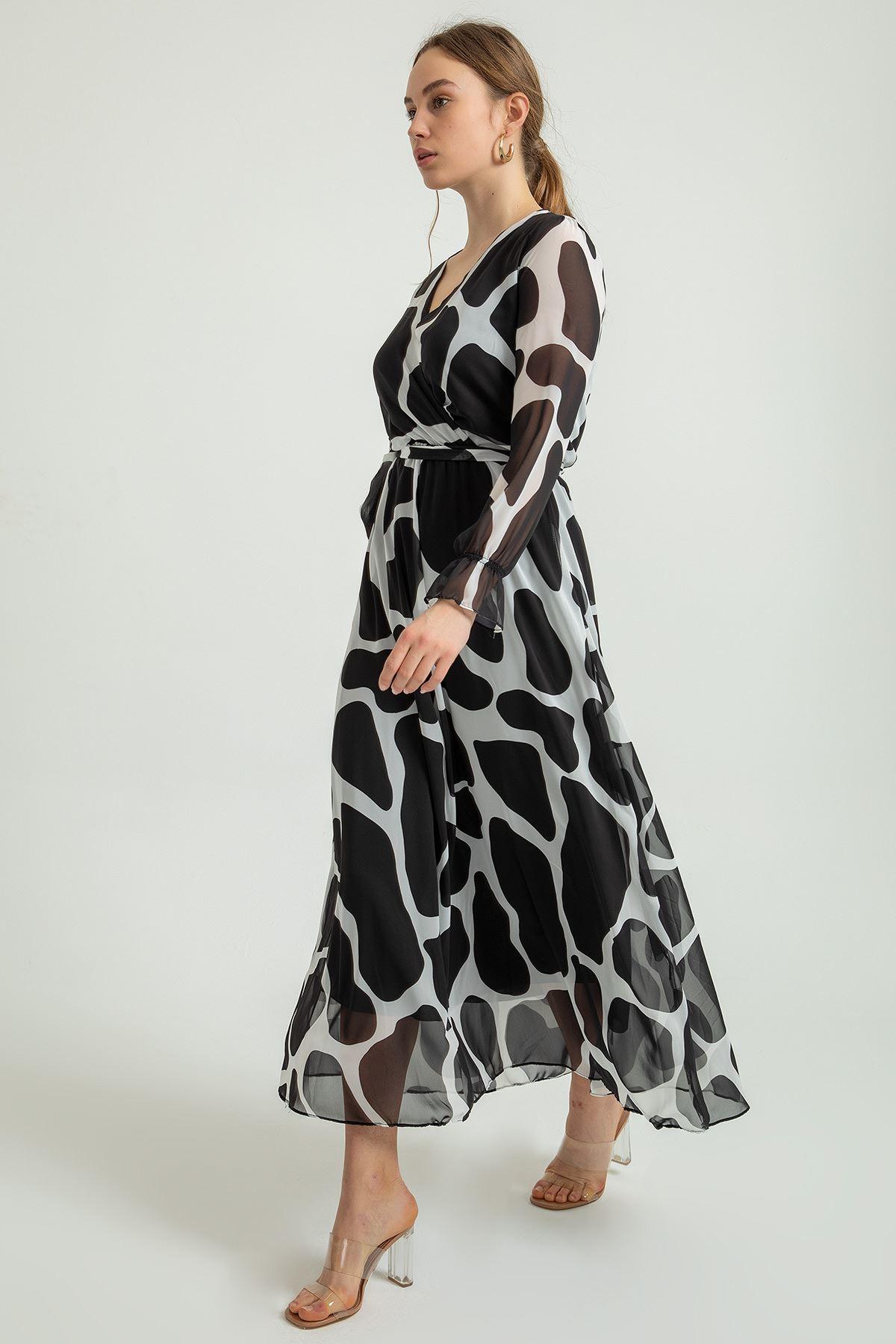 Taş Desen Uzun Şifon Elbise-Siyah