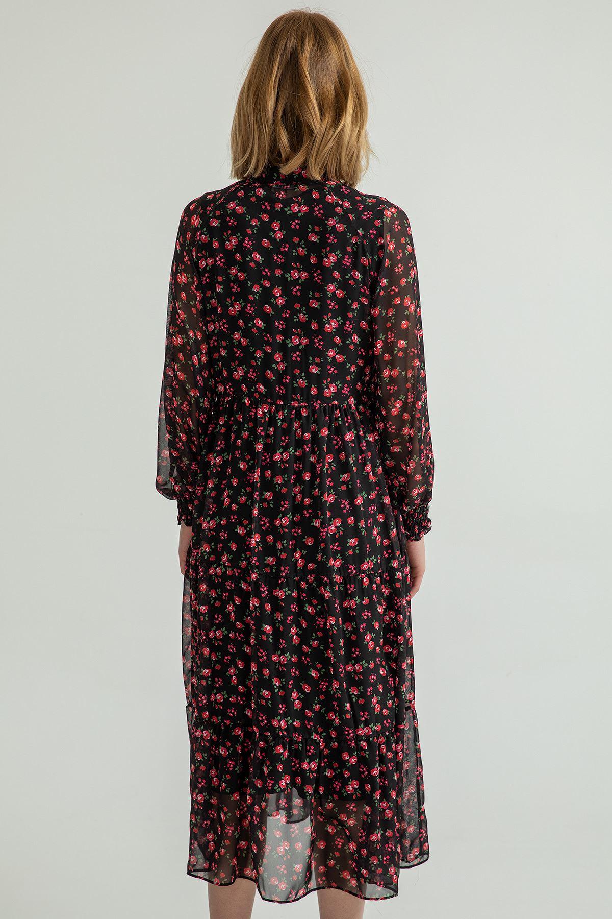 Çıtır Çiçek Desen Salaş Elbise-Petrol