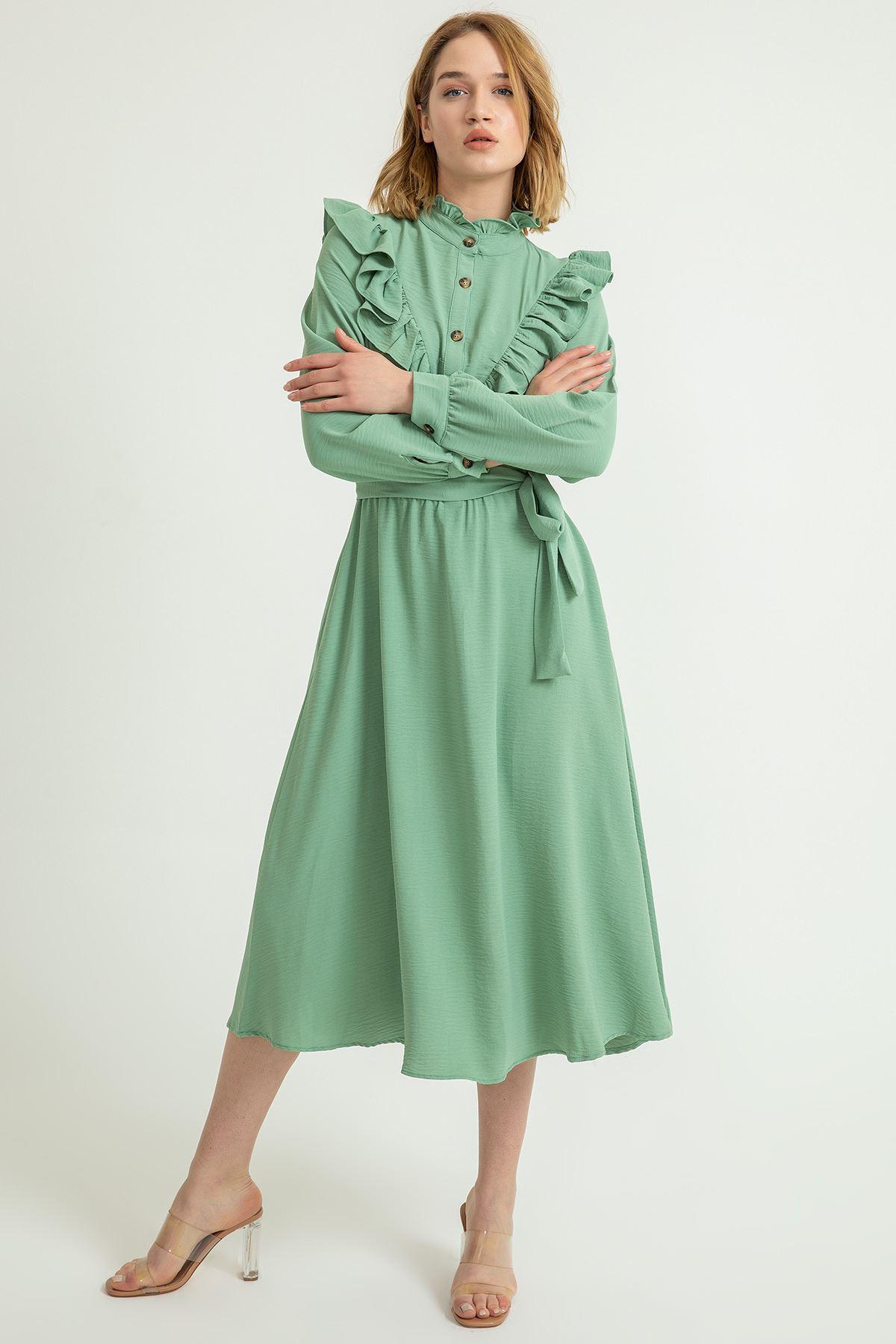 Hakim Yaka Volanlı Midi Elbise-Mint