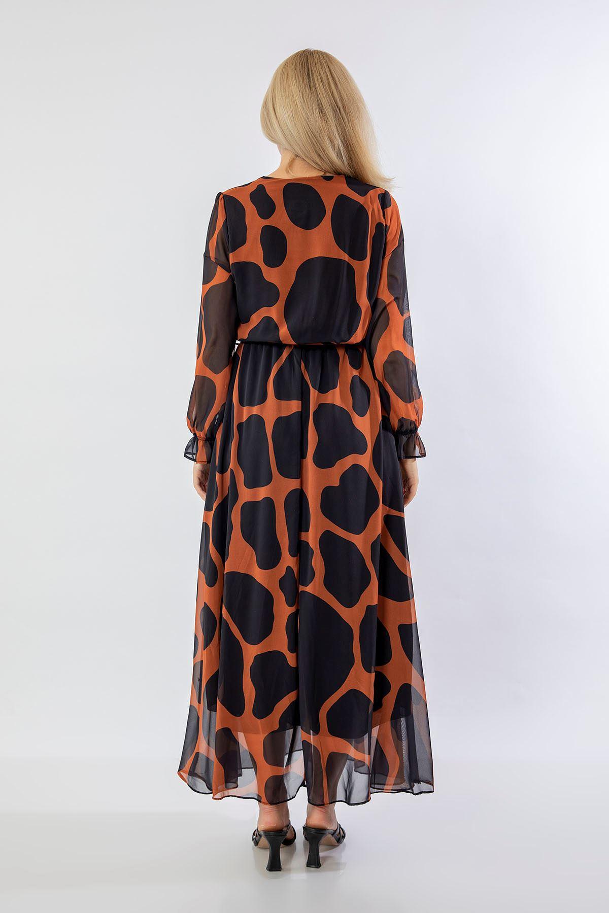 Taş Desen Uzun Şifon Elbise-Taba