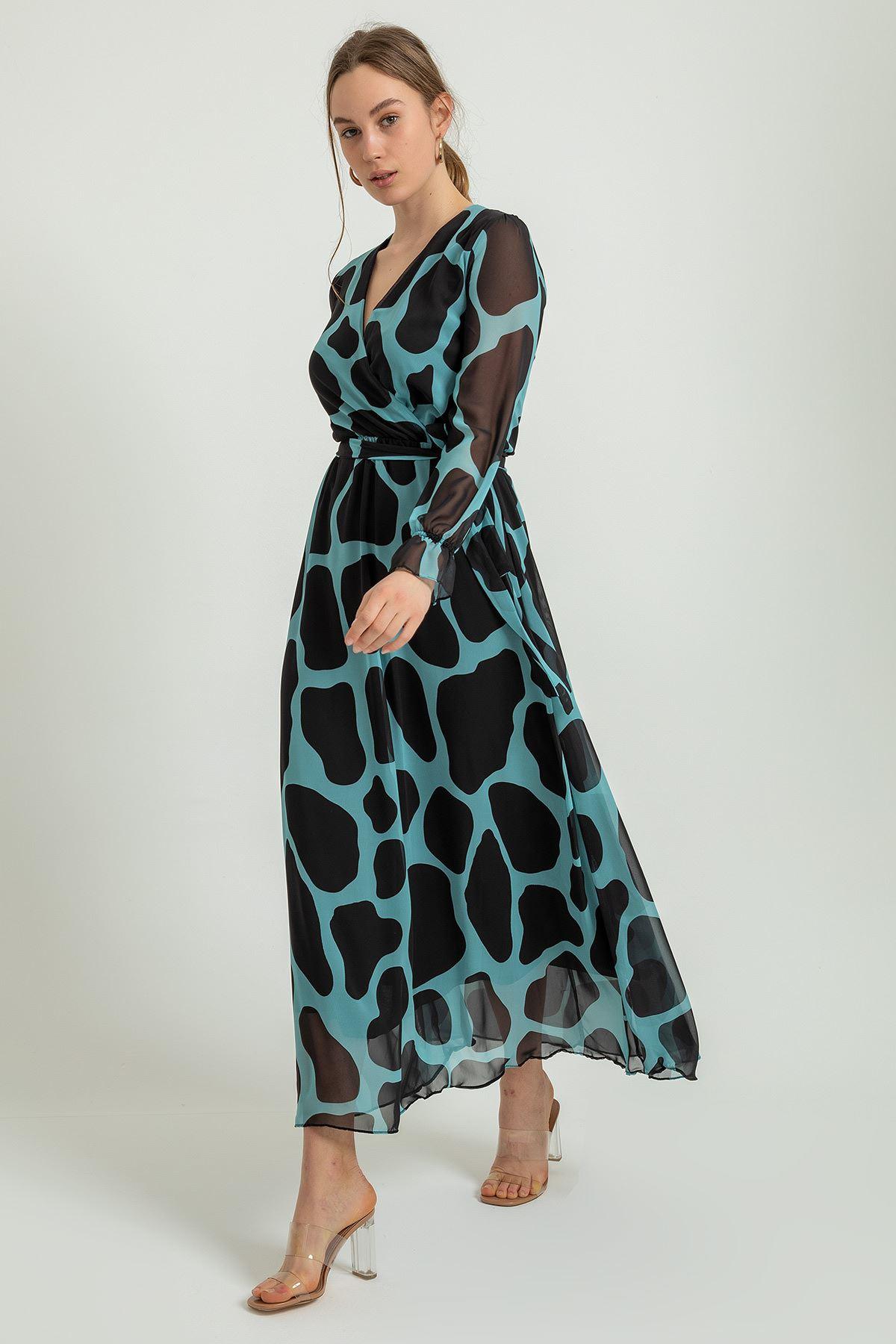 Taş Desen Uzun Şifon Elbise-Mint
