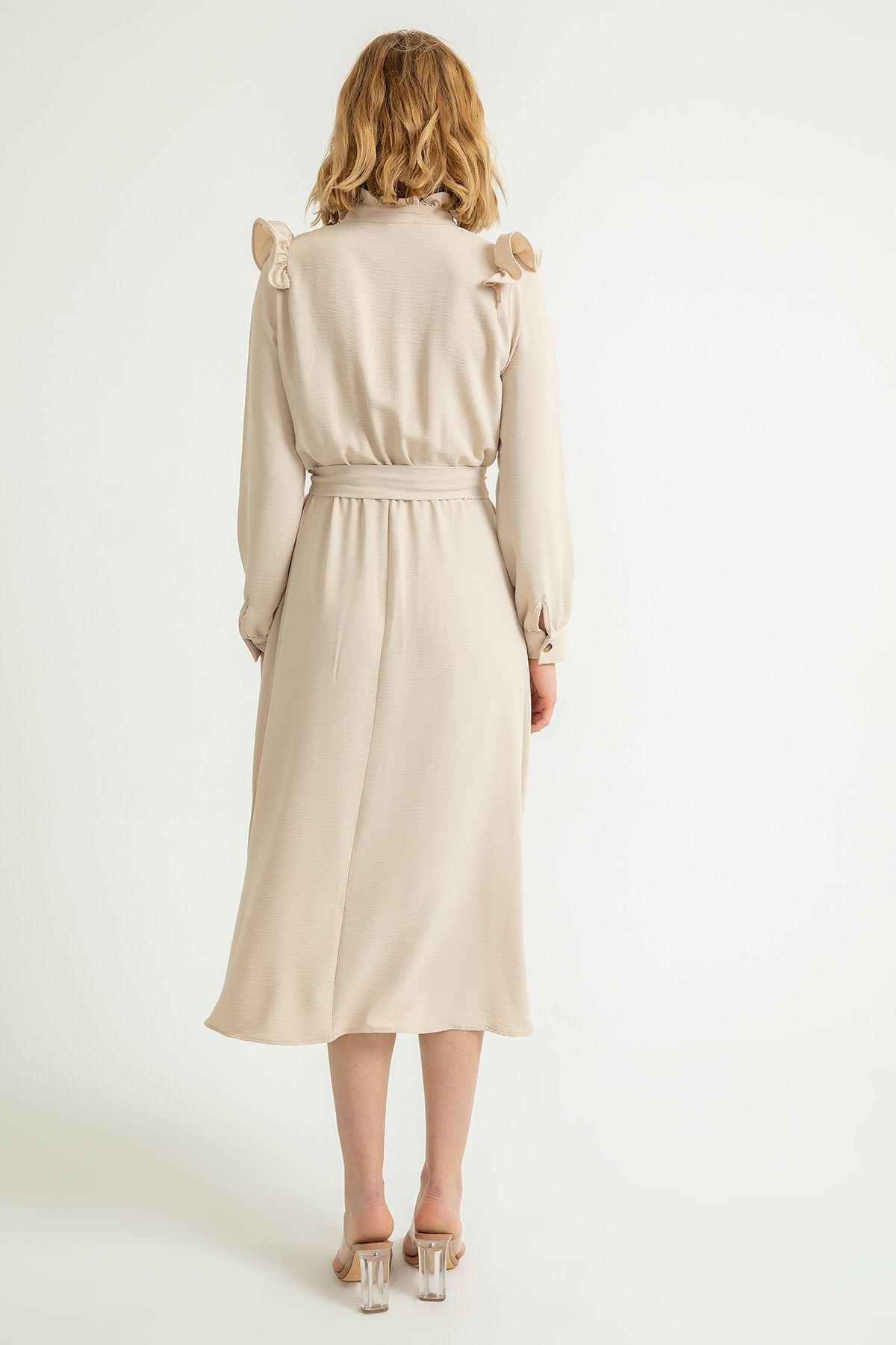 Hakim Yaka Volanlı Midi Elbise-Taş