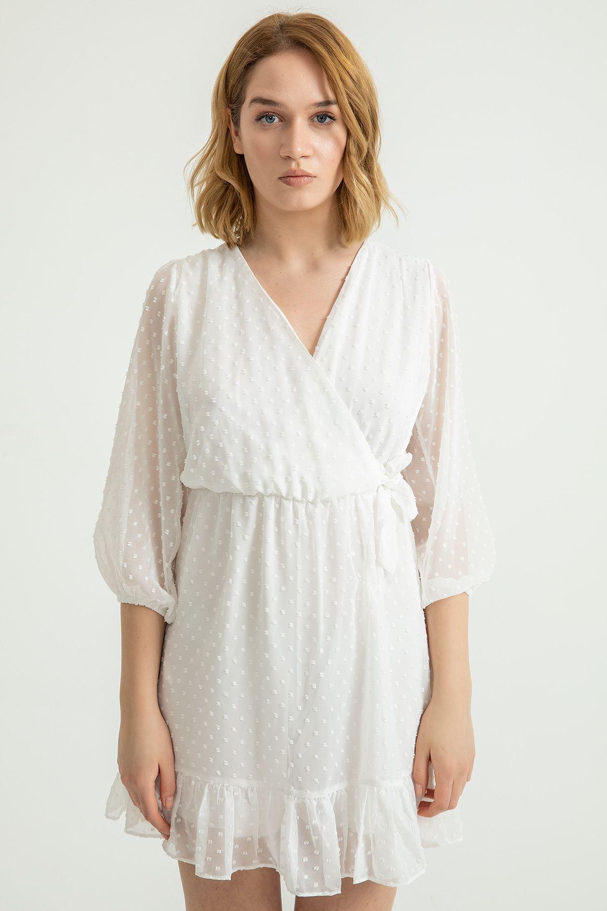 Anvelop Yandan Bağlamalı Kesme Şifon Elbise-Ekru
