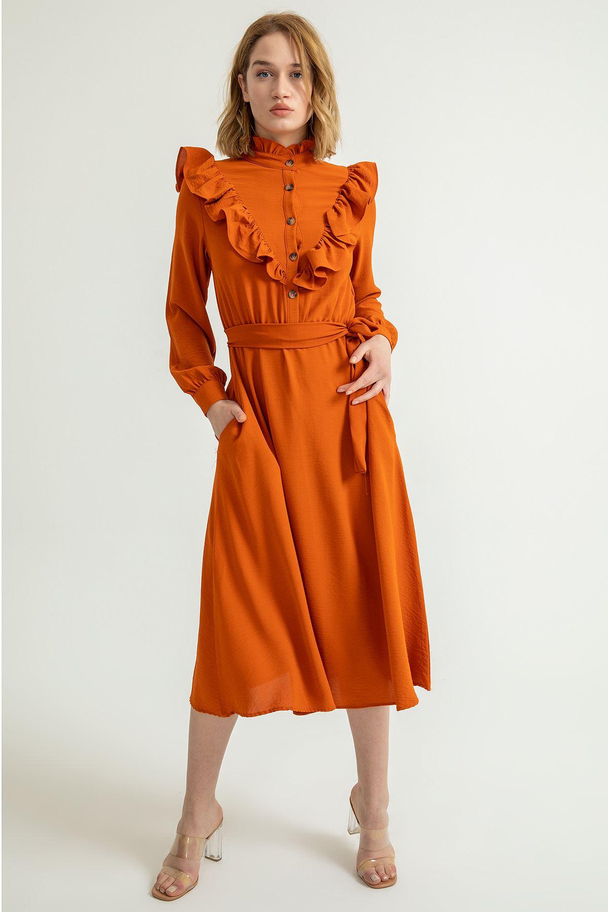 Hakim Yaka Volanlı Midi Elbise-Kiremit