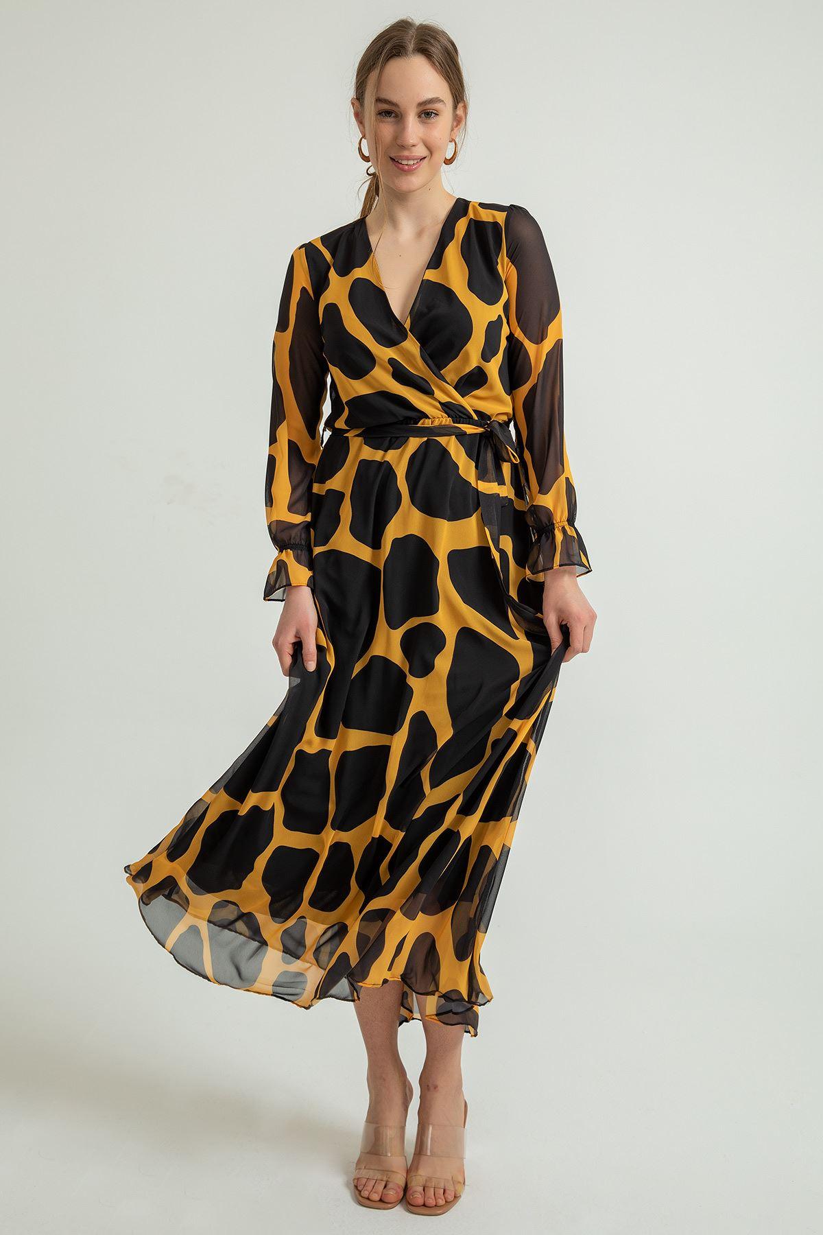 Taş Desen Uzun Şifon Elbise-Hardal