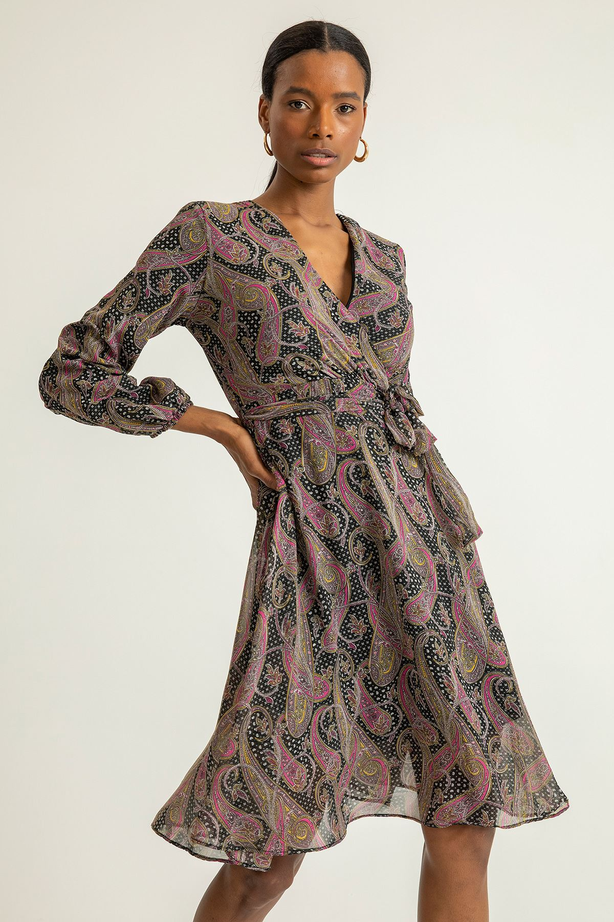 Şal Desen Şifon Elbise-Fuşya