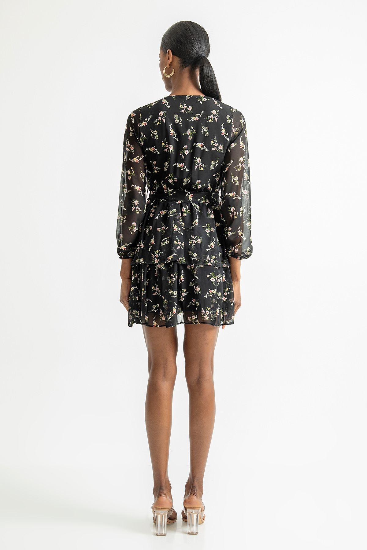 Çift Katlı V Yaka Elbise-Siyah