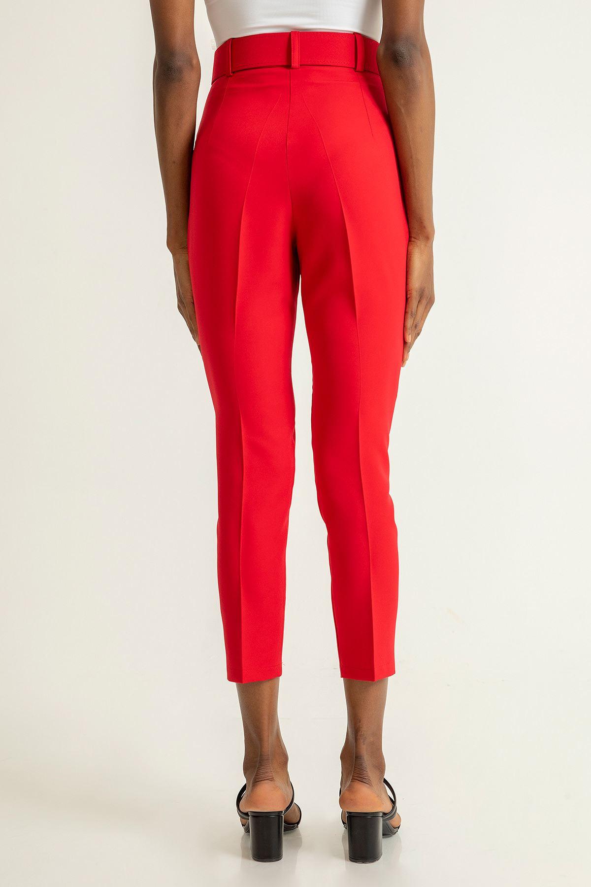 Kemerli Atlas Pantolon-Kırmızı