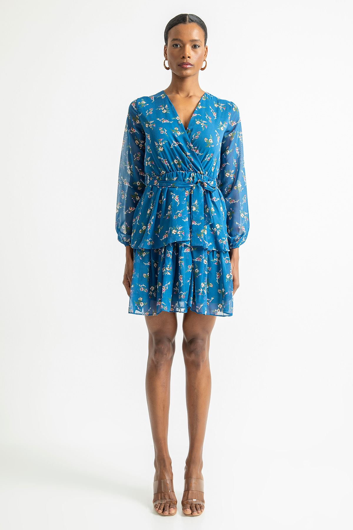 Çift Katlı V Yaka Elbise-Saks
