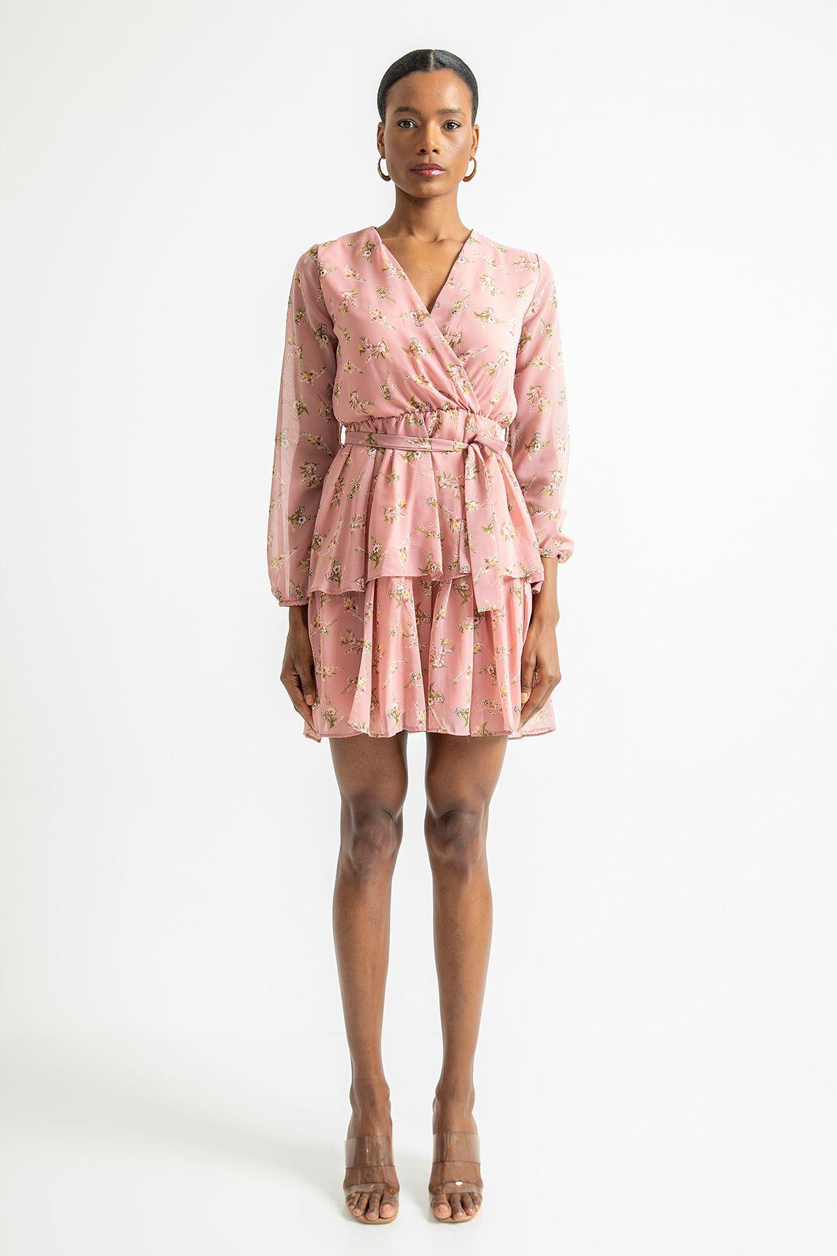 Çift Katlı V Yaka Elbise-Pudra