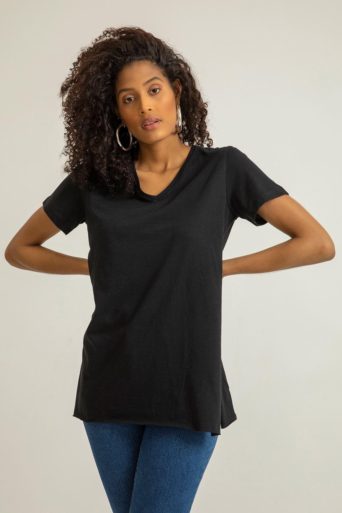 V Yaka Basıc T-Shirt-Siyah
