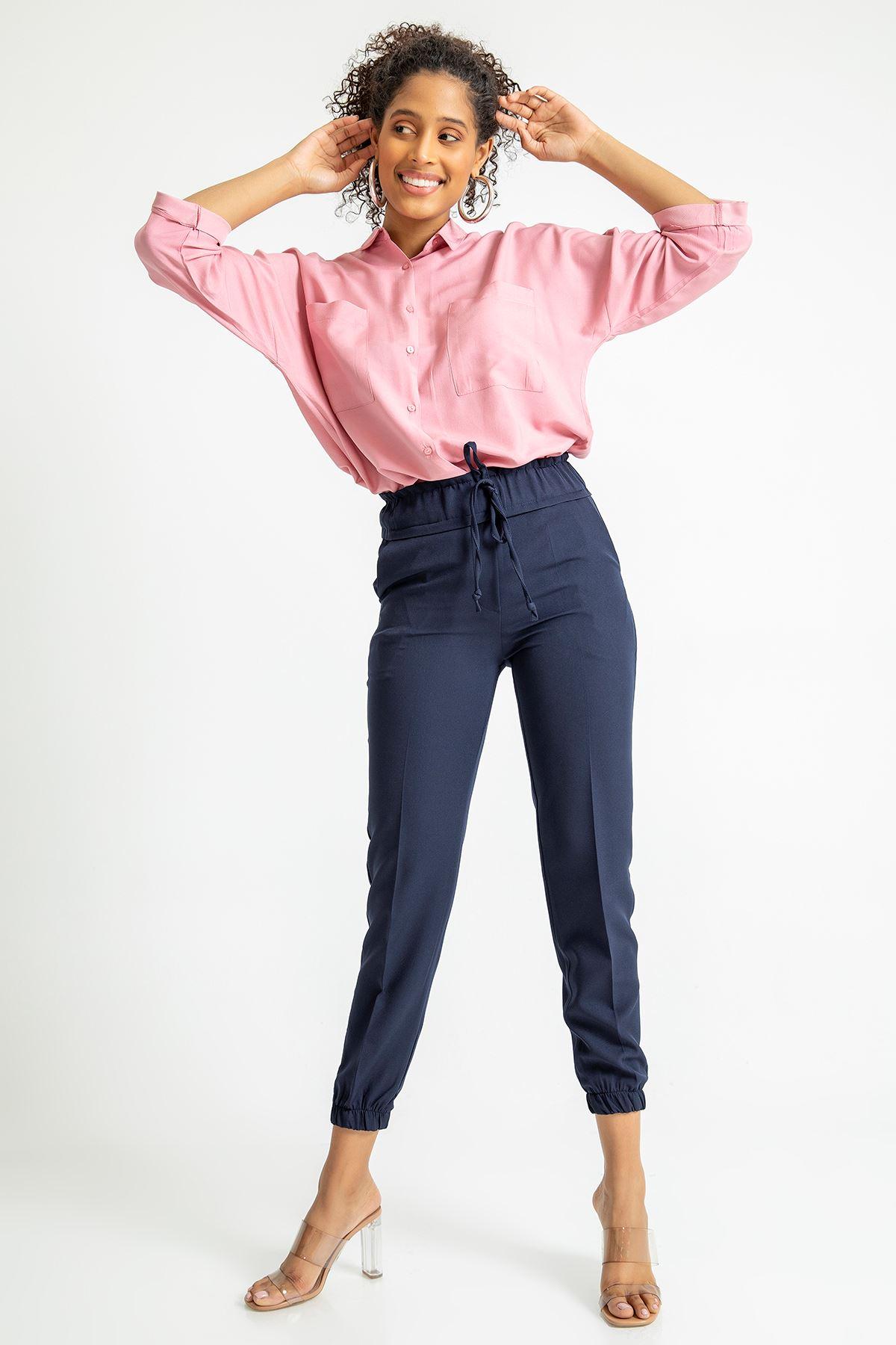 Beli Lastikli Atlas Kumaş Pantolon-Lacivert