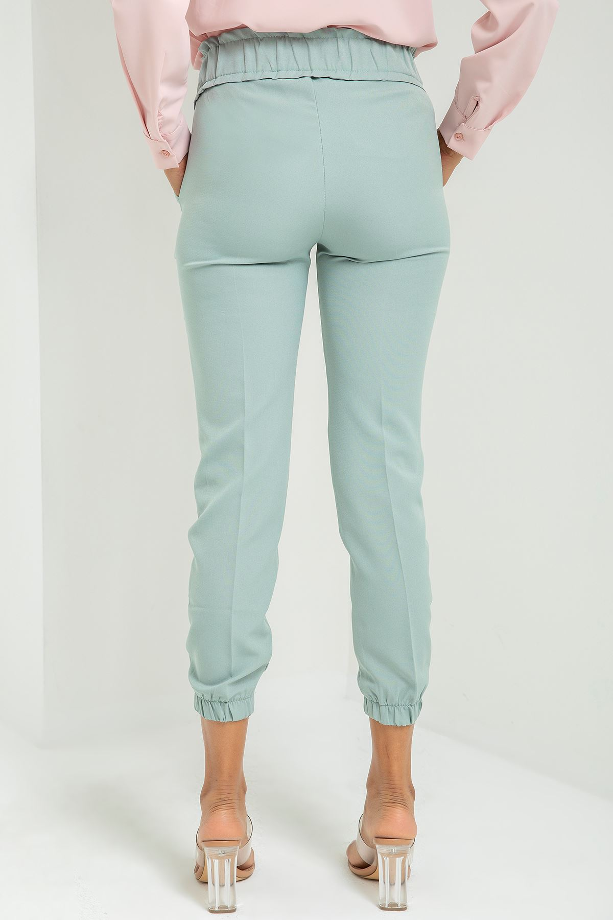 Beli Lastikli Atlas Kumaş Pantolon-Mint