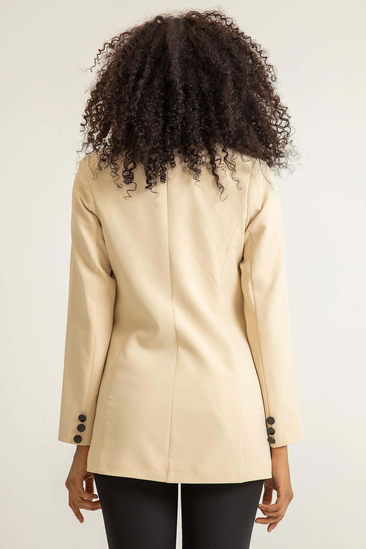 Düğmeli Kruvaze Ceket-Taş