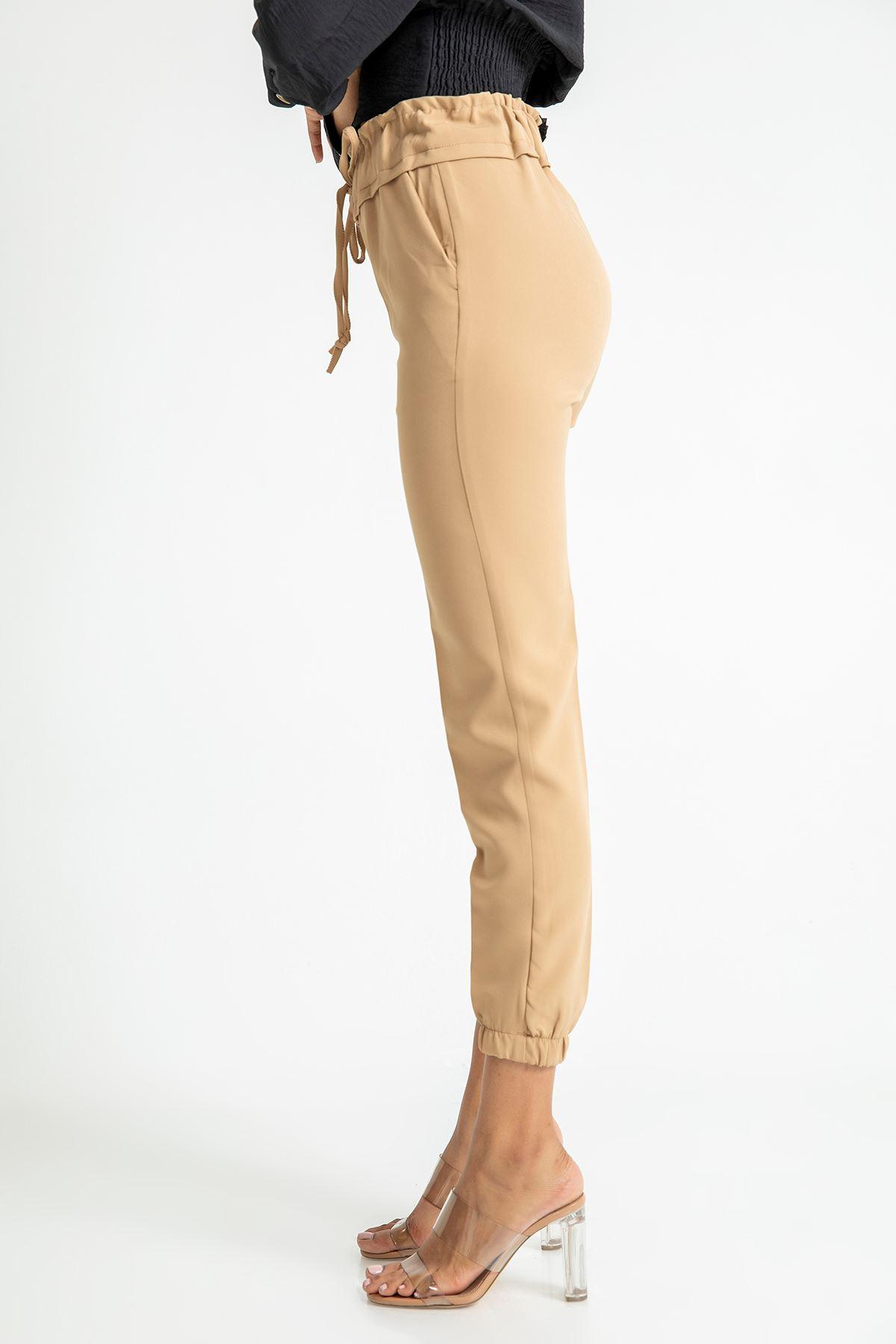 Beli Lastikli Atlas Kumaş Pantolon-Taba