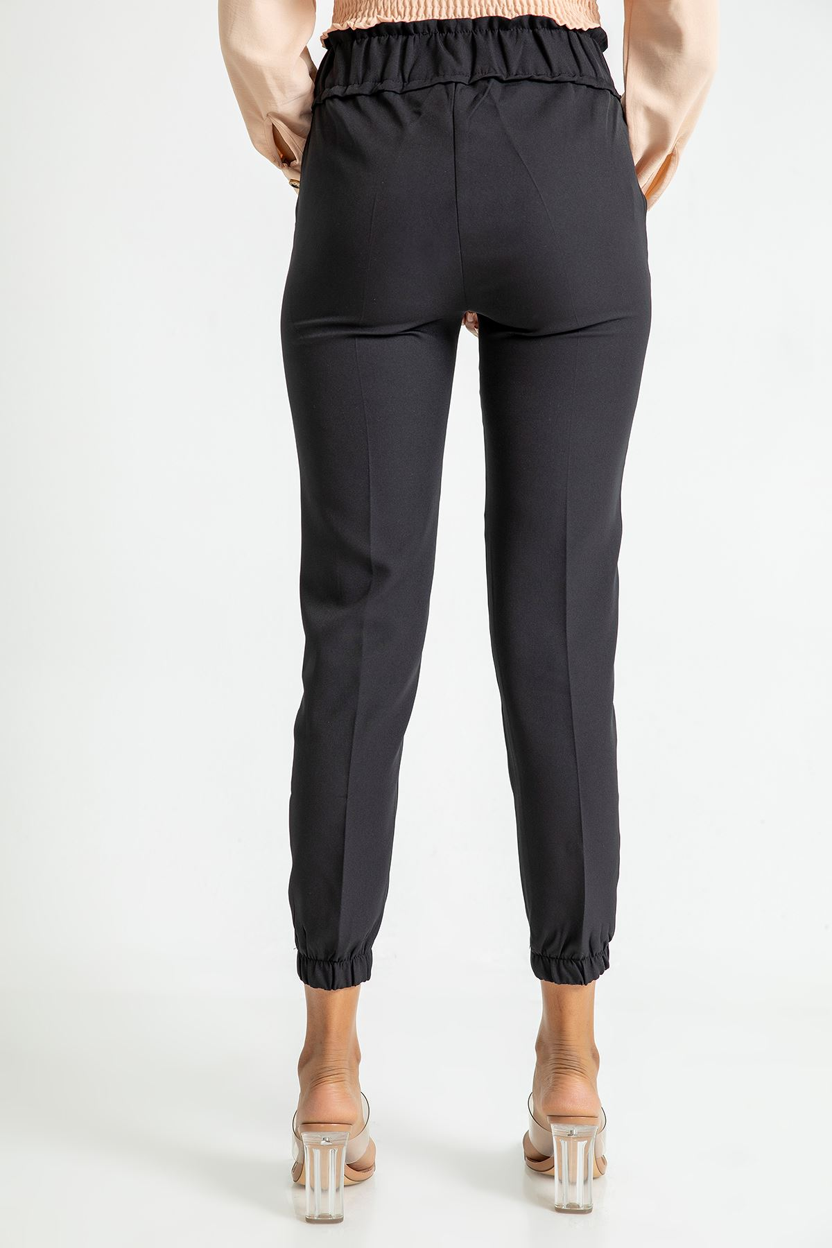 Beli Lastikli Atlas Kumaş Pantolon-Siyah