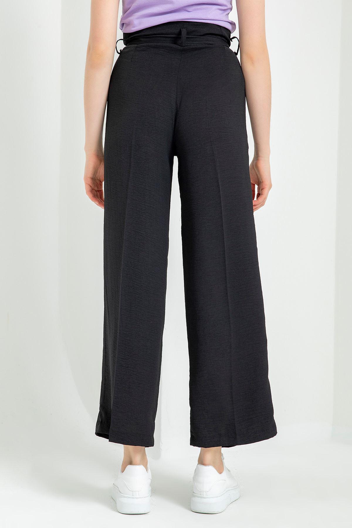 Bol Paça Keten Pantolon-Siyah