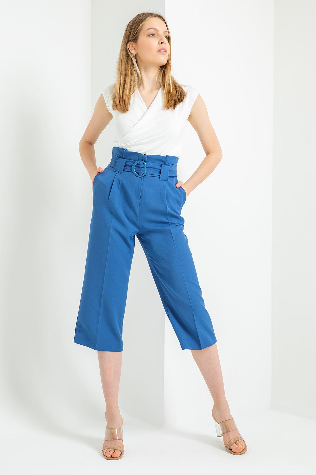 Geniş Paça Kısa Pantolon-İndigo