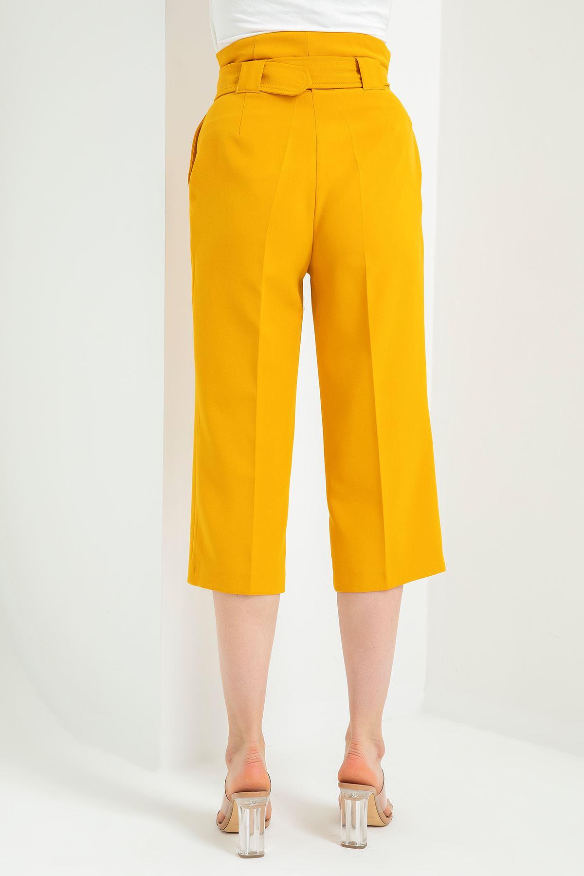 Geniş Paça Kısa Pantolon-Hardal