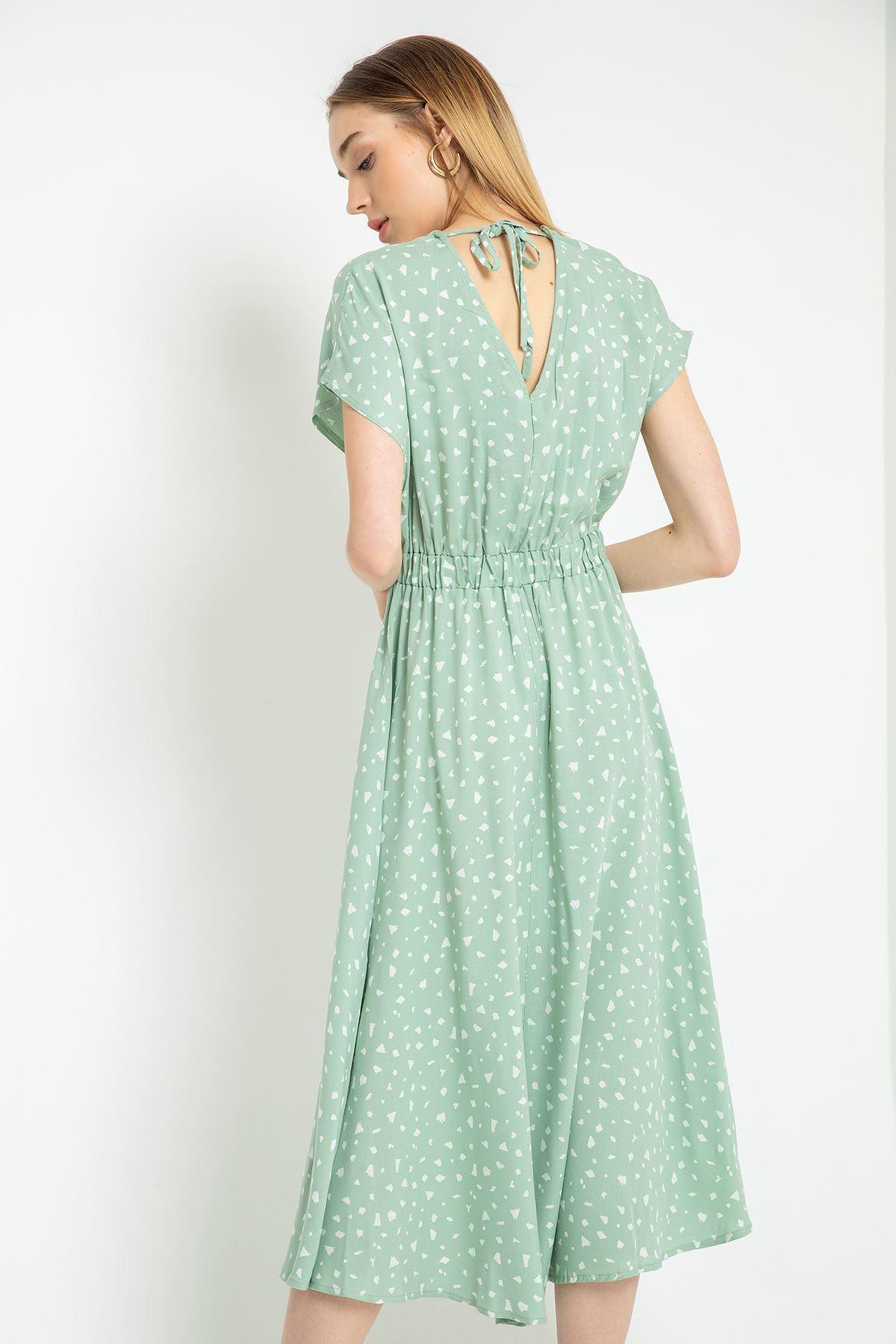 V Yaka Püskül Detaylı Elbise-Mint