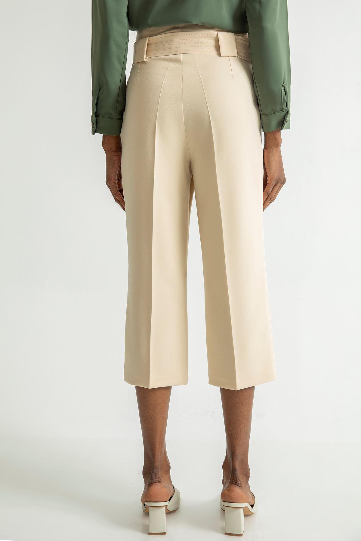 Geniş Paça Kısa Pantolon-Taş