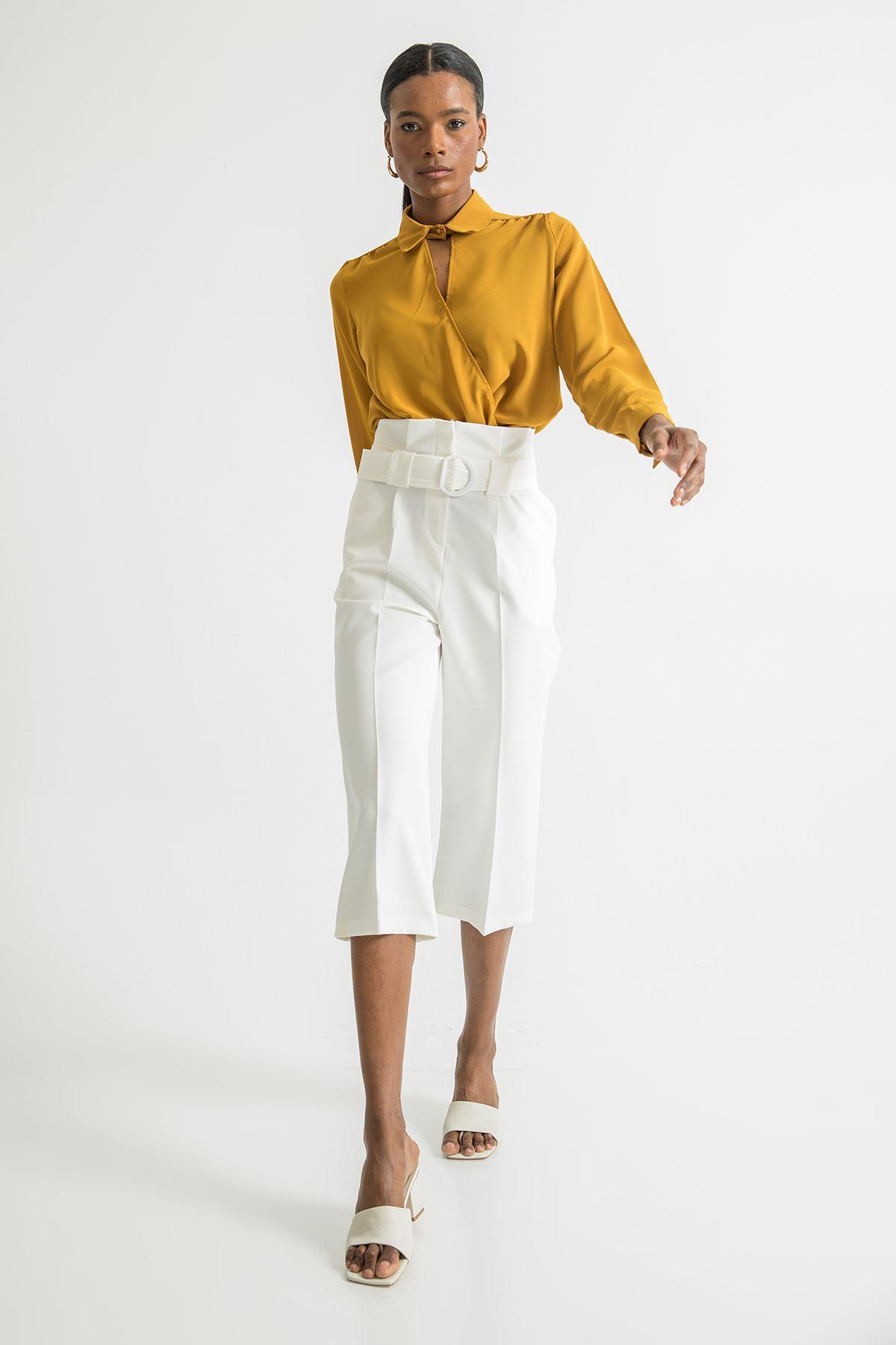 Geniş Paça Kısa Pantolon-Ekru