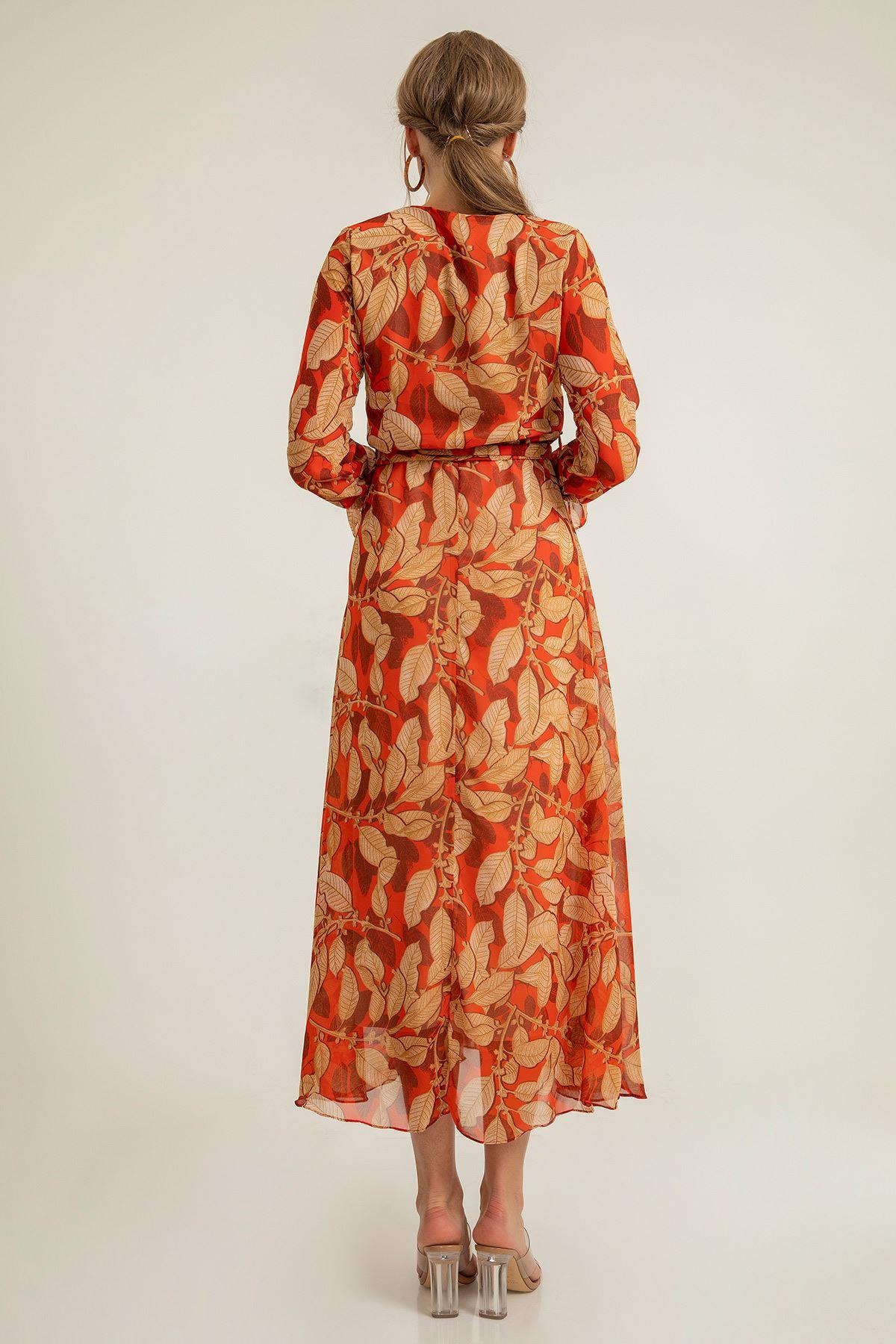 Büyük Yaprak Desen Şifon Elbise-Oranj