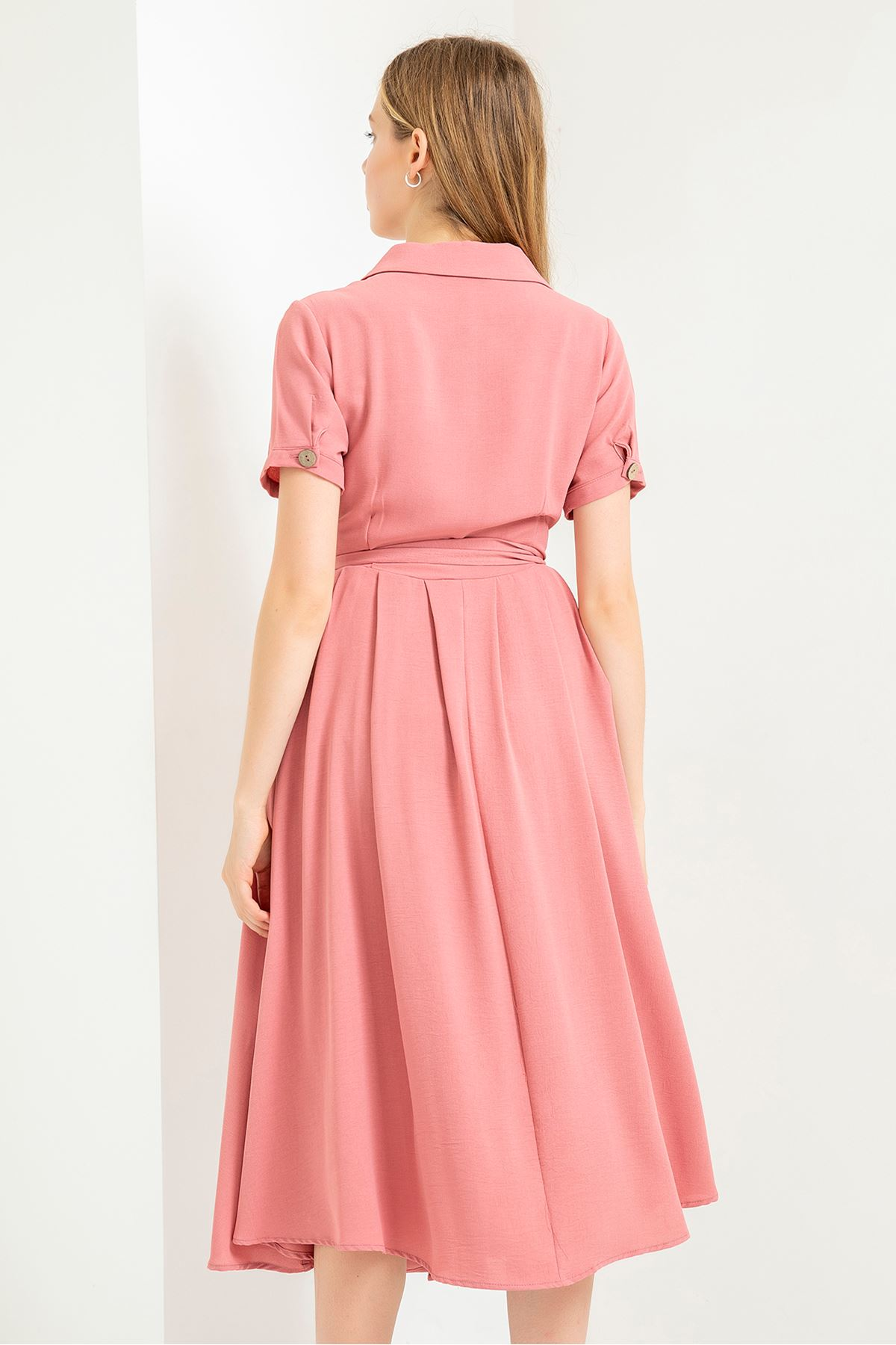 Cep Detay Elbise-Gül Kurusu