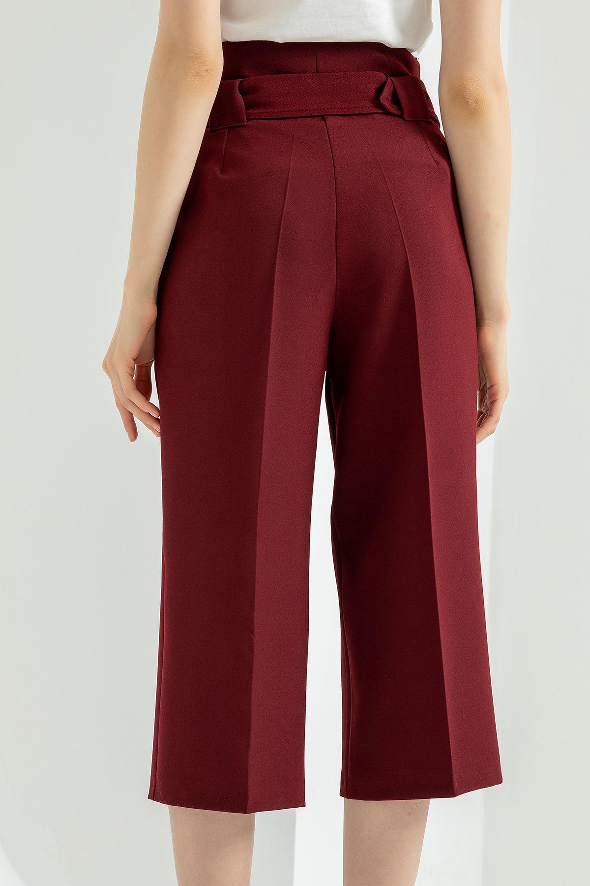 Geniş Paça Kısa Pantolon-Bordo